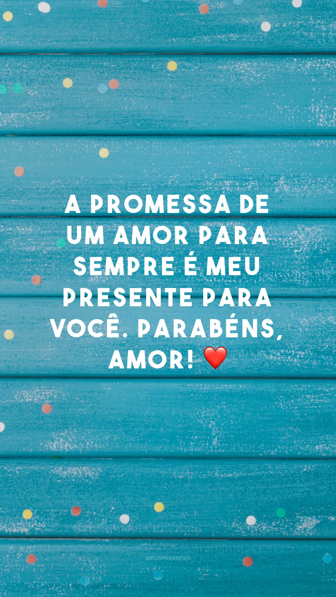 A promessa de um amor para sempre é meu presente para você. Parabéns, amor! ❤