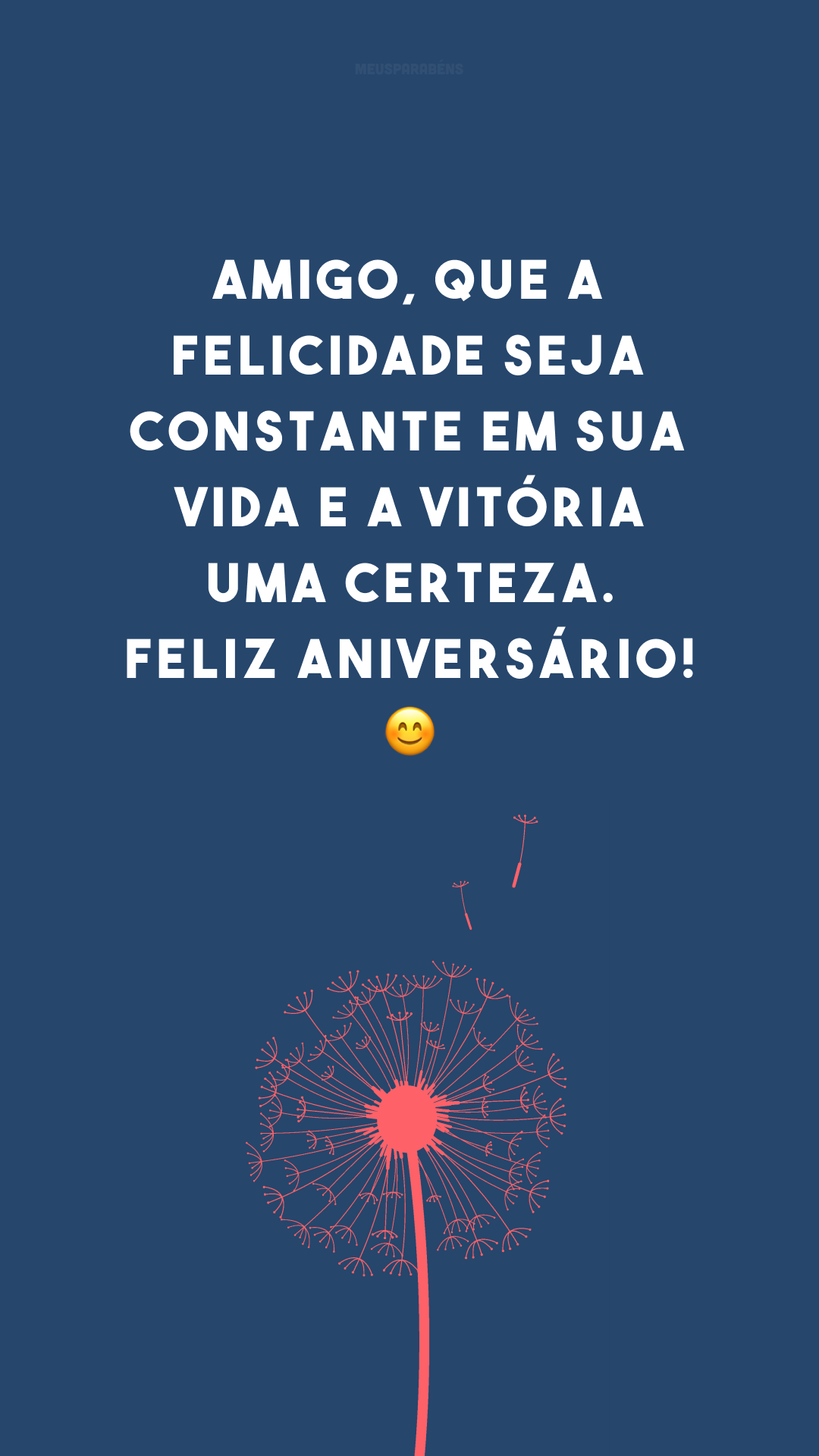 Amigo, que a felicidade seja constante em sua vida e a vitória uma certeza. Feliz aniversário! 😊