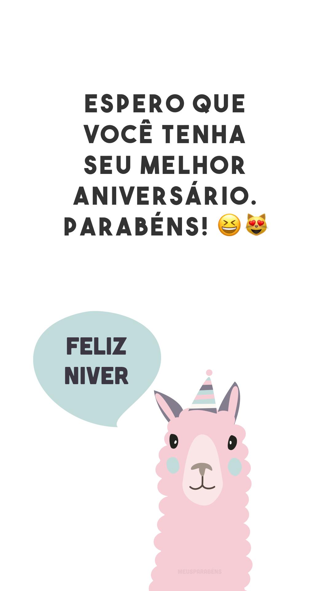 Espero que você tenha seu melhor aniversário. Parabéns! 😆😻