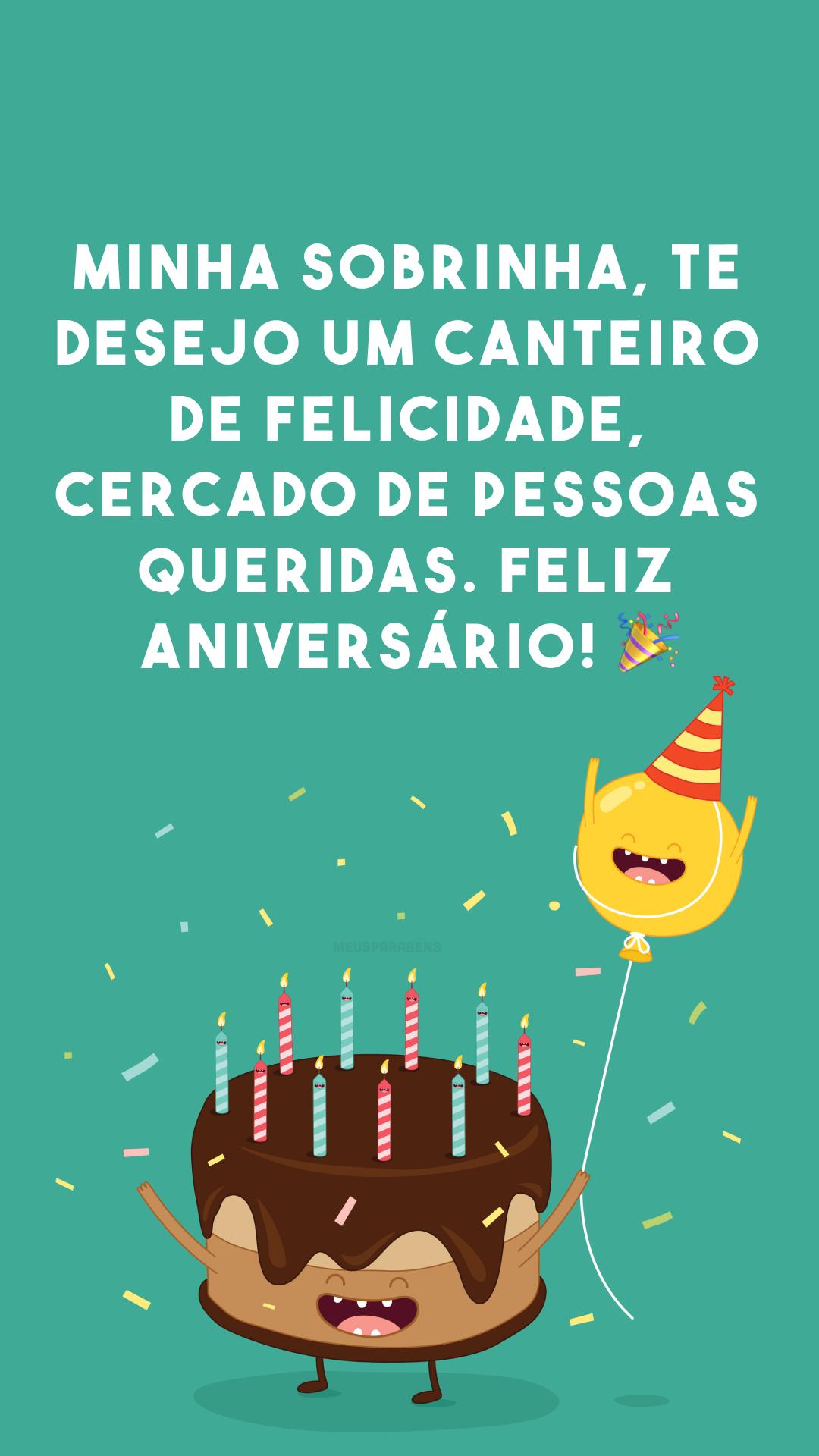 Minha sobrinha, te desejo um canteiro de felicidade, cercado de pessoas queridas. Feliz aniversário! 🎉