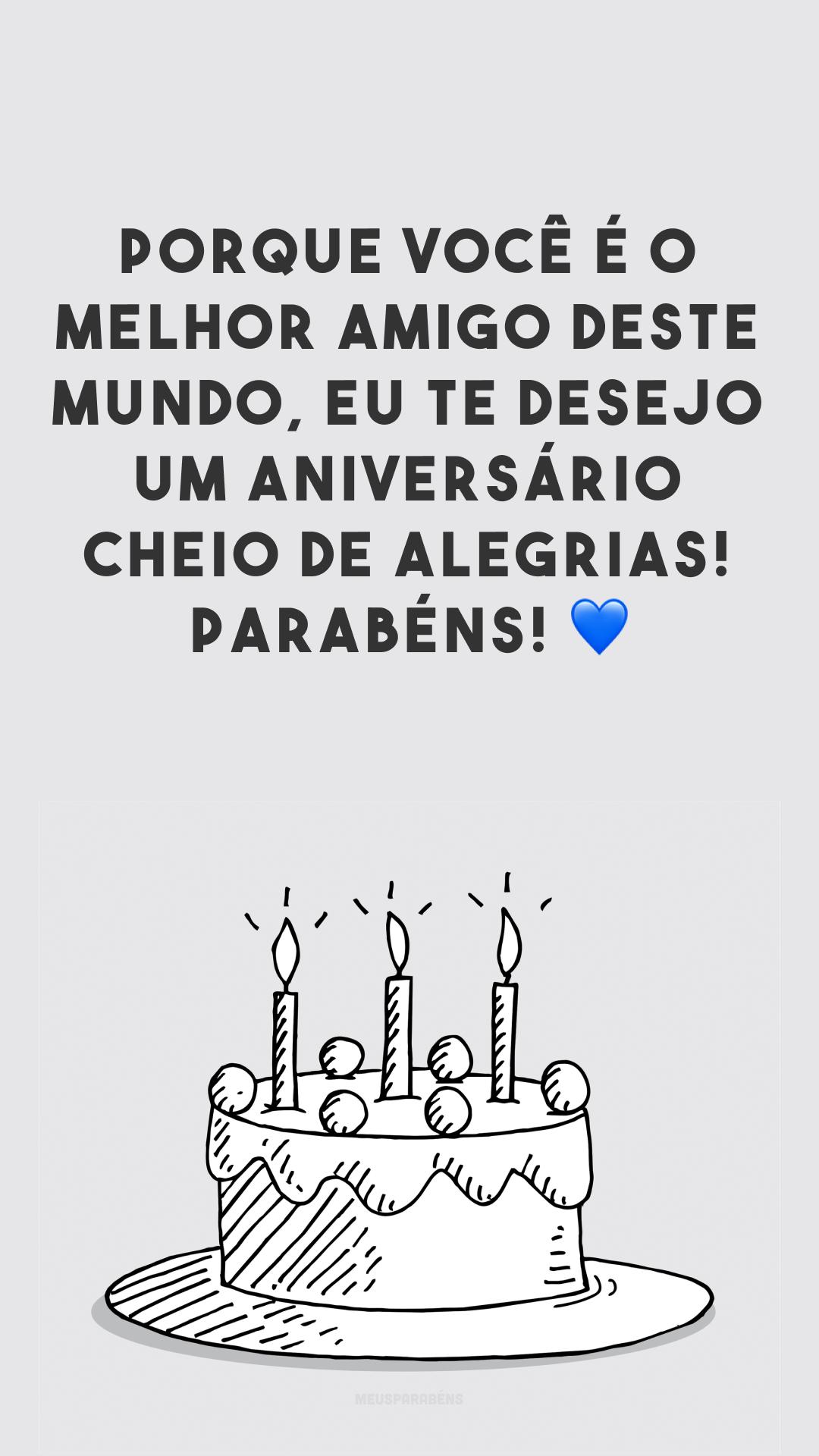 Porque você é o melhor amigo deste mundo, eu te desejo um aniversário cheio de alegrias! Parabéns! 💙