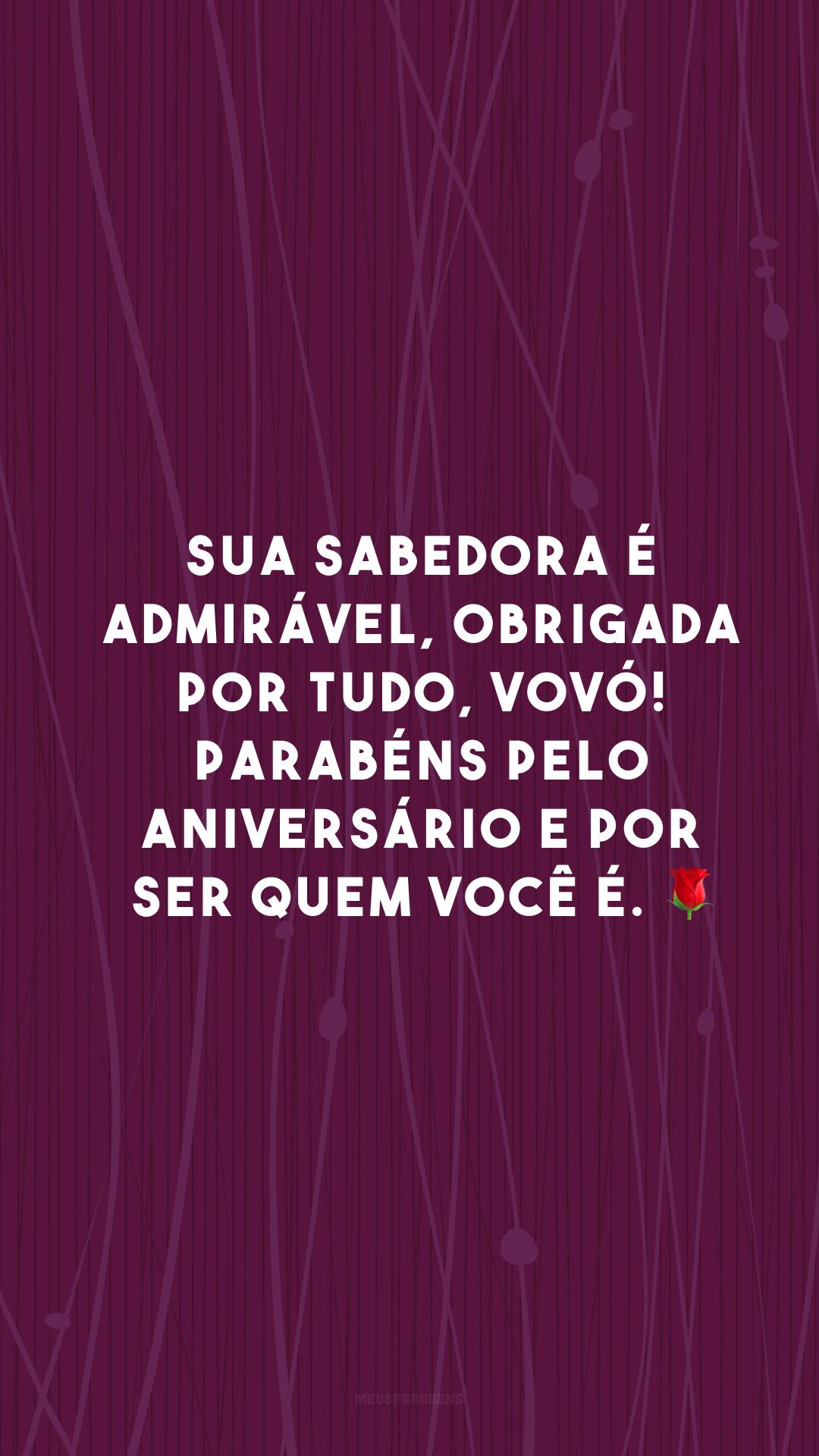 Sua sabedora é admirável, obrigada por tudo, vovó! Parabéns pelo aniversário e por ser quem você é. 🌹