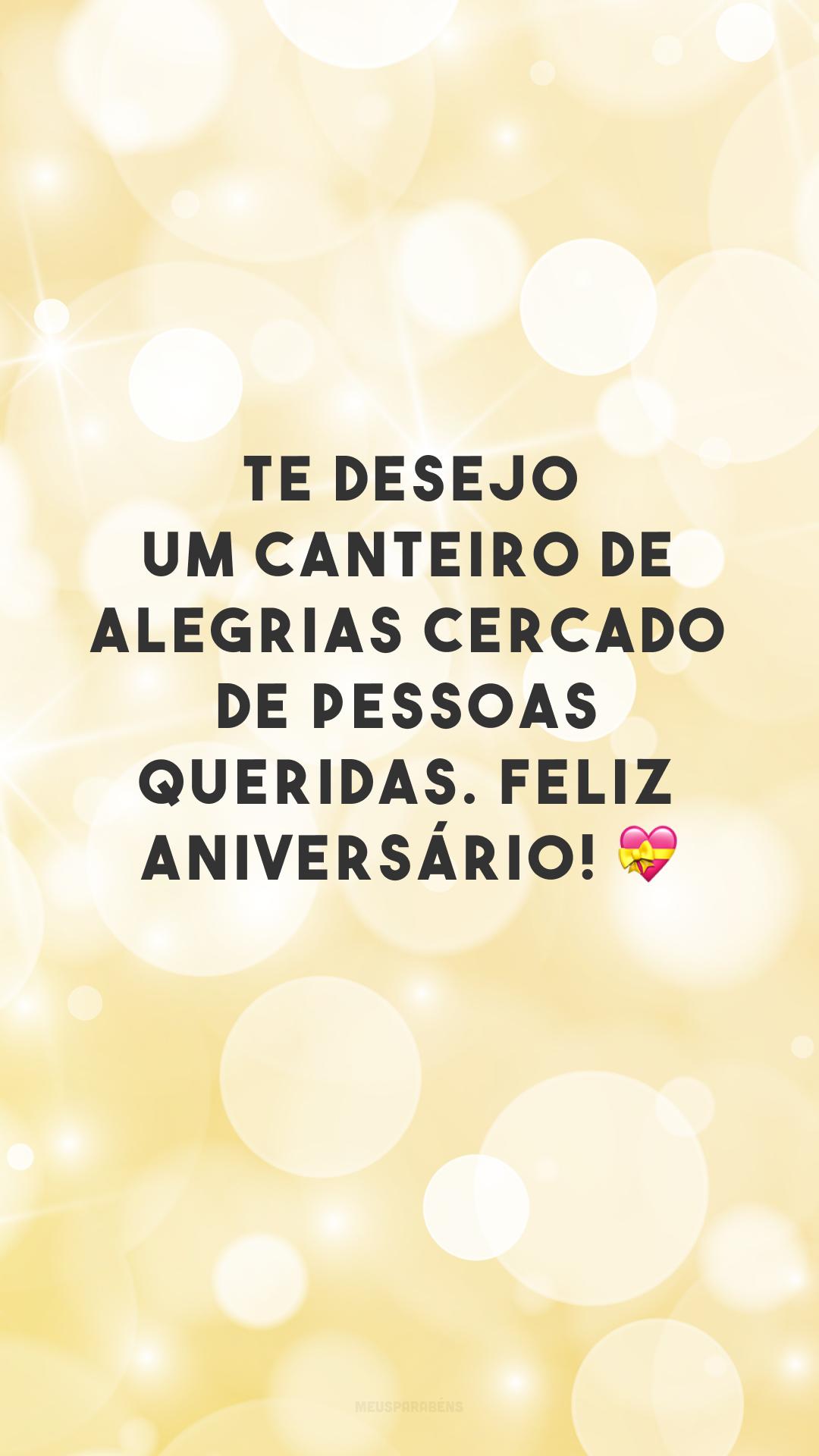 Te desejo um canteiro de alegrias cercado de pessoas queridas. Feliz aniversário! 💝