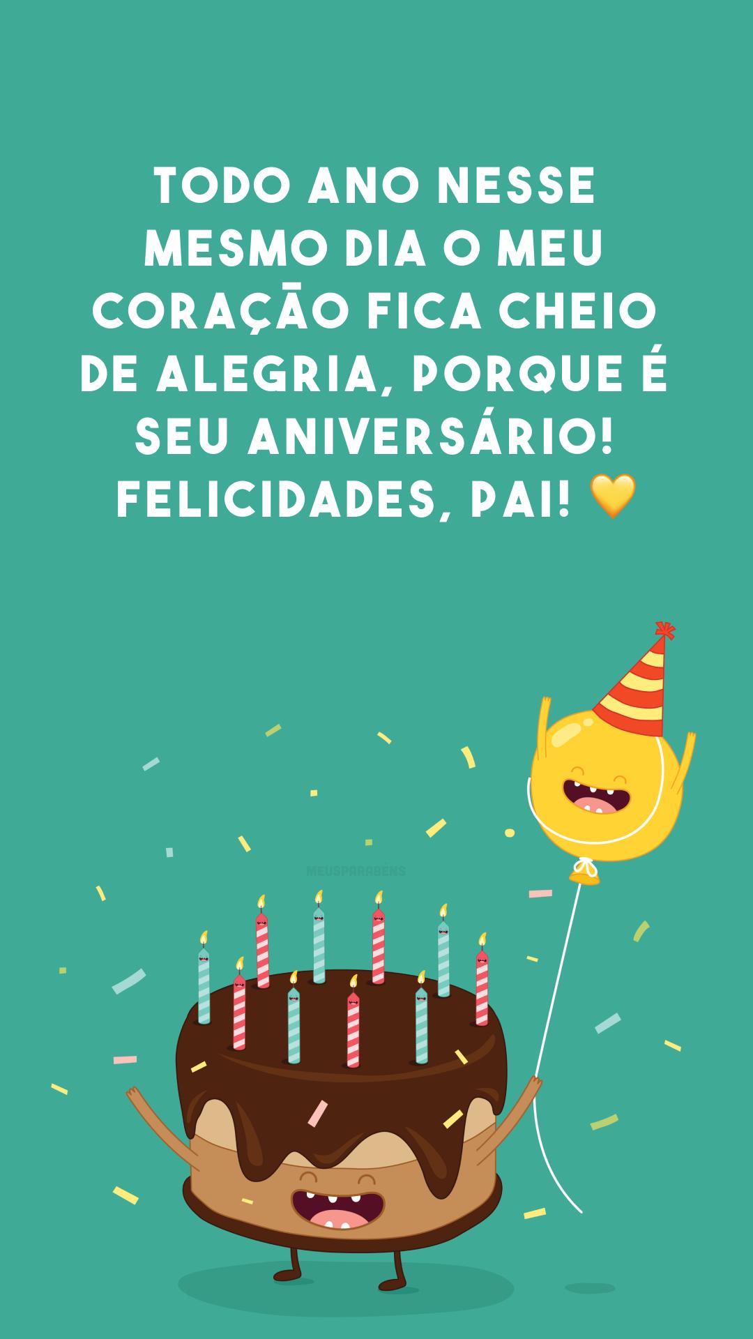Todo ano nesse mesmo dia o meu coração fica cheio de alegria, porque é seu aniversário! Felicidades, pai! ?