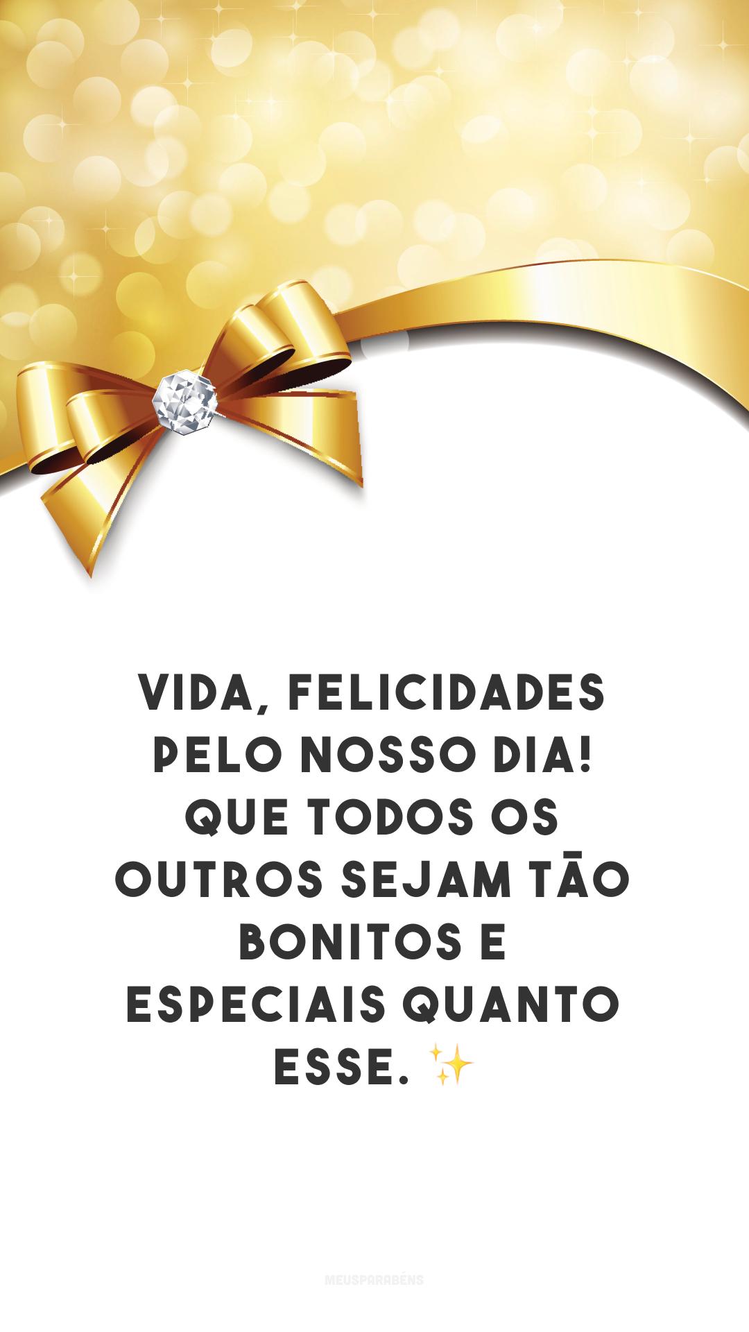 Vida, felicidades pelo nosso dia! Que todos os outros sejam tão bonitos e especiais quanto esse. ✨
