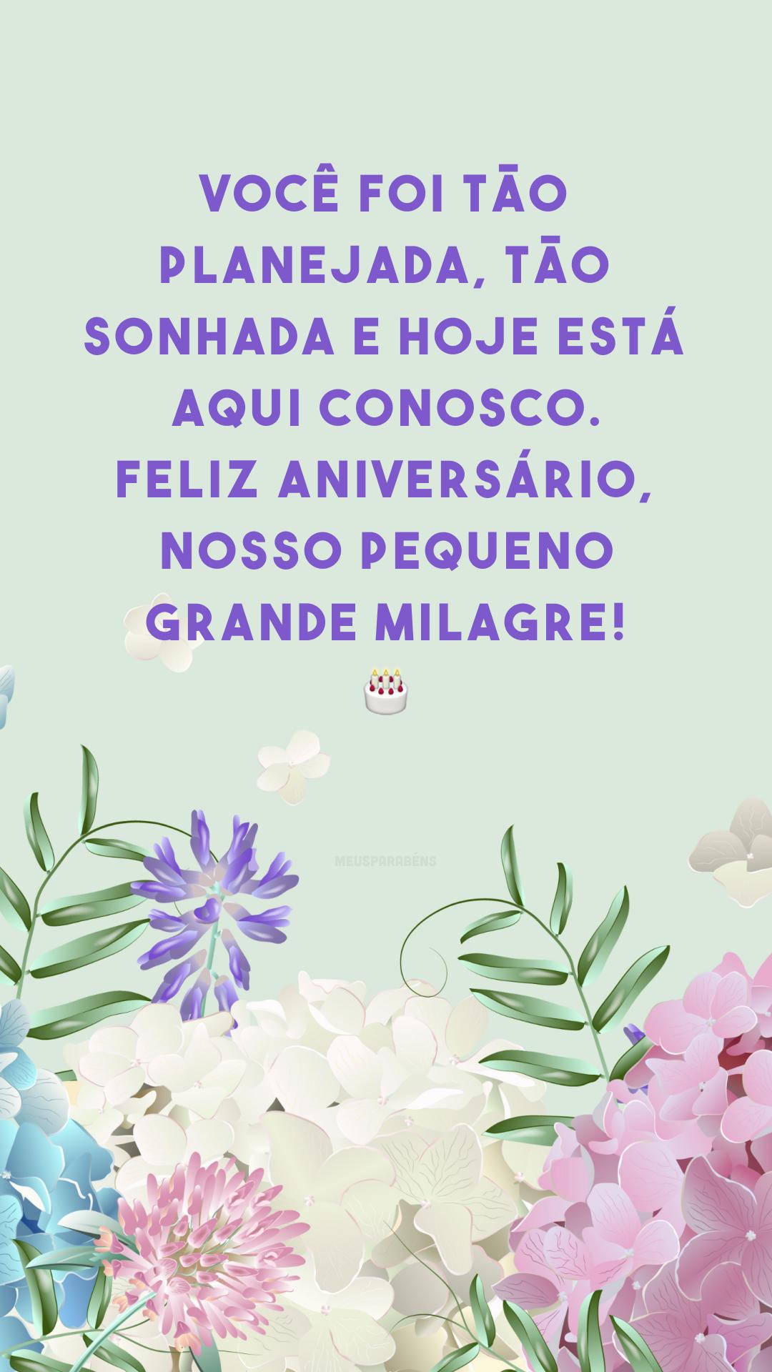 Você foi tão planejada, tão sonhada e hoje está aqui conosco. Feliz aniversário, nosso pequeno grande milagre! ?