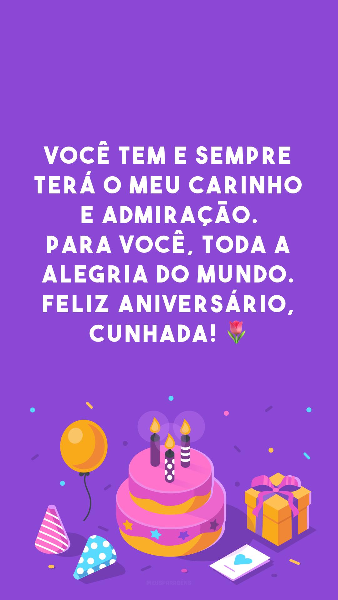 Você tem e sempre terá o meu carinho e admiração. Para você, toda a alegria do mundo. Feliz aniversário, cunhada! 🌷