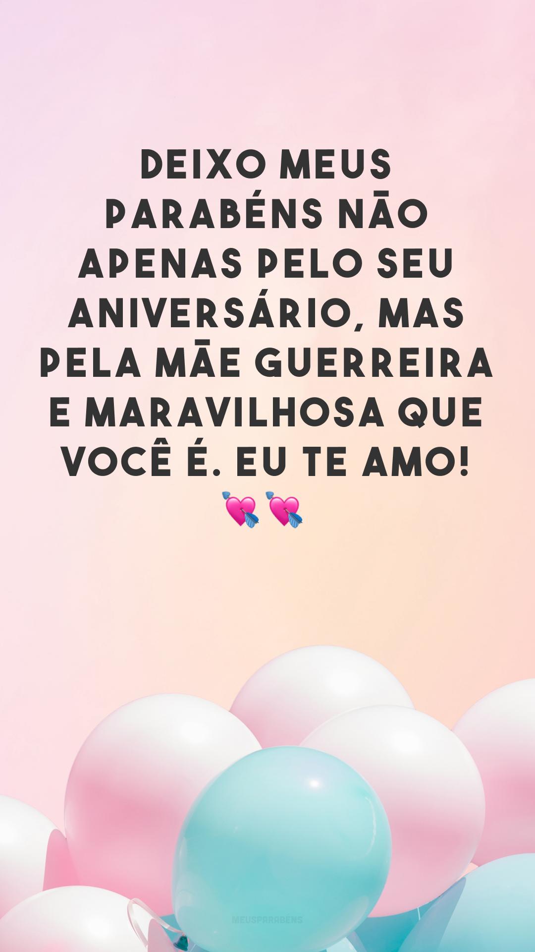 Deixo meus parabéns não apenas pelo seu aniversário, mas pela mãe guerreira e maravilhosa que você é. Eu te amo! ??