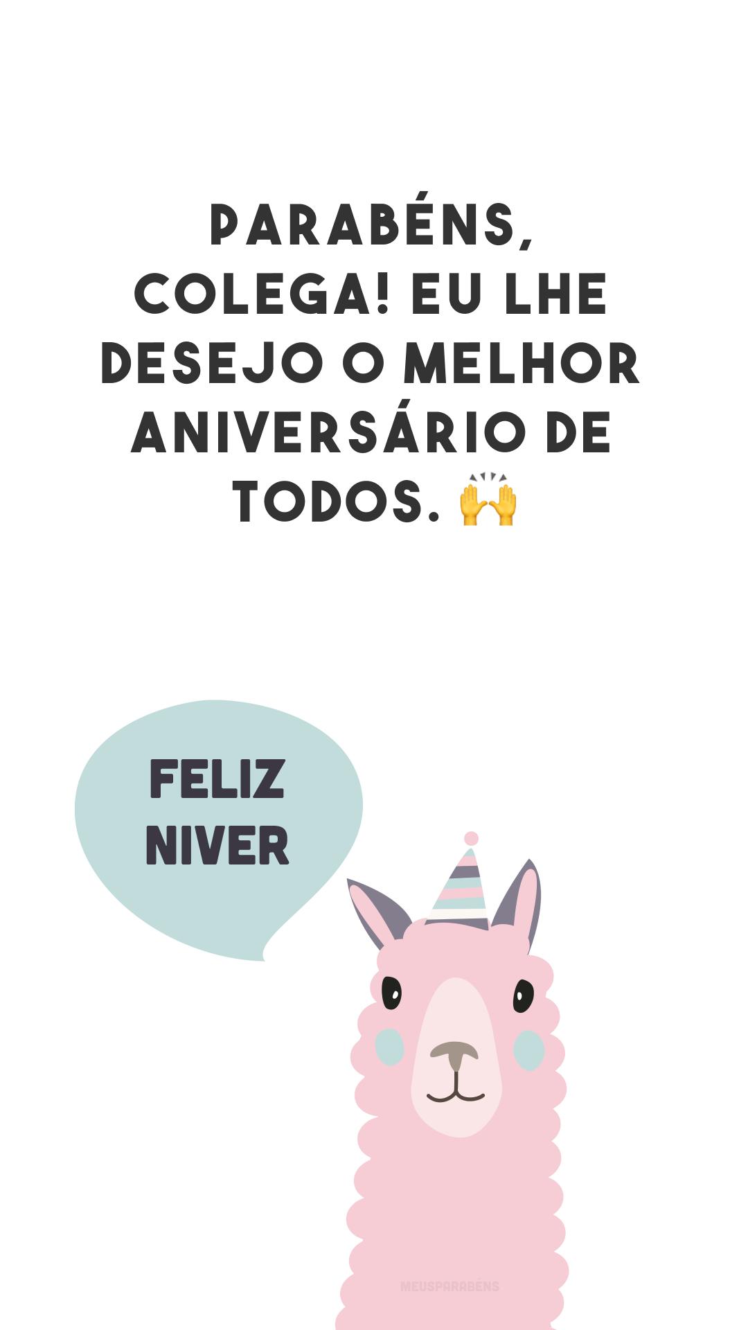 Parabéns, colega! Eu lhe desejo o melhor aniversário de todos. 🙌