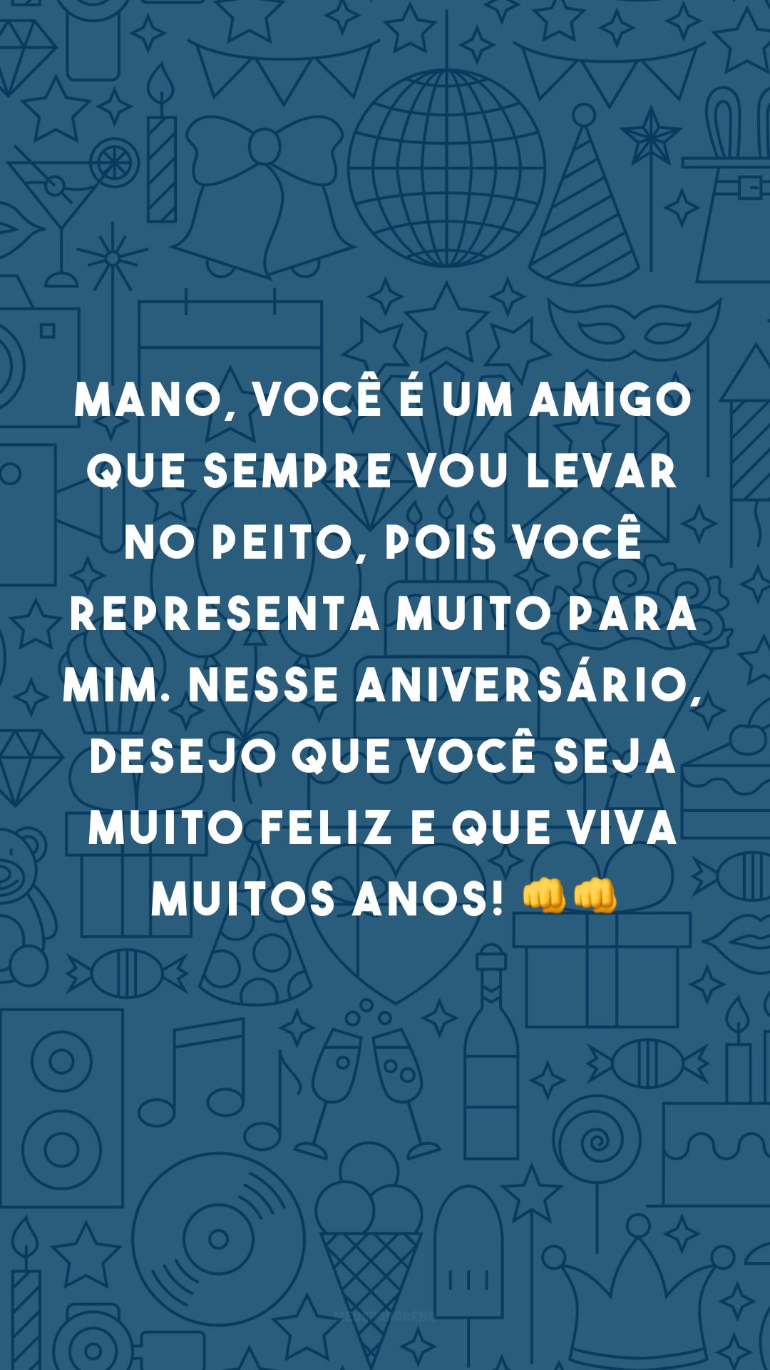 Mano, você é um amigo que sempre vou levar no peito, pois você representa muito para mim. Nesse aniversário, desejo que você seja muito feliz e que viva muitos anos! 👊👊