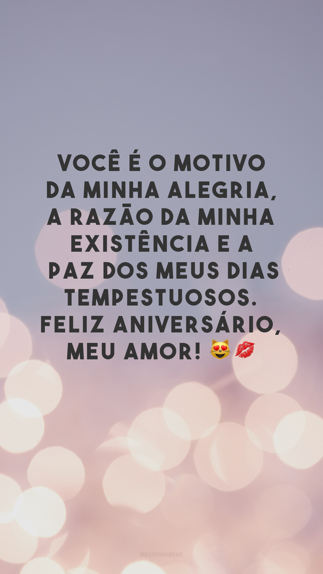 Você é o motivo da minha alegria, a razão da minha existência e a paz dos meus dias tempestuosos. Feliz aniversário, meu amor! 😻💋