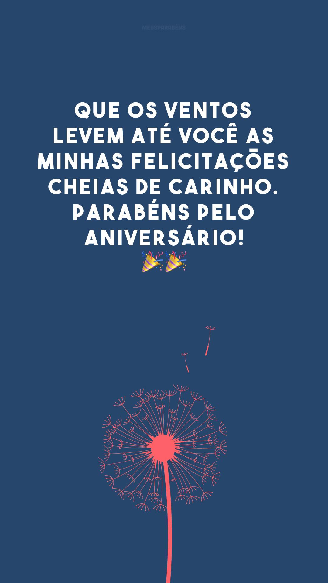Que os ventos levem até você as minhas felicitações cheias de carinho. Parabéns pelo aniversário! 🎉 🎉