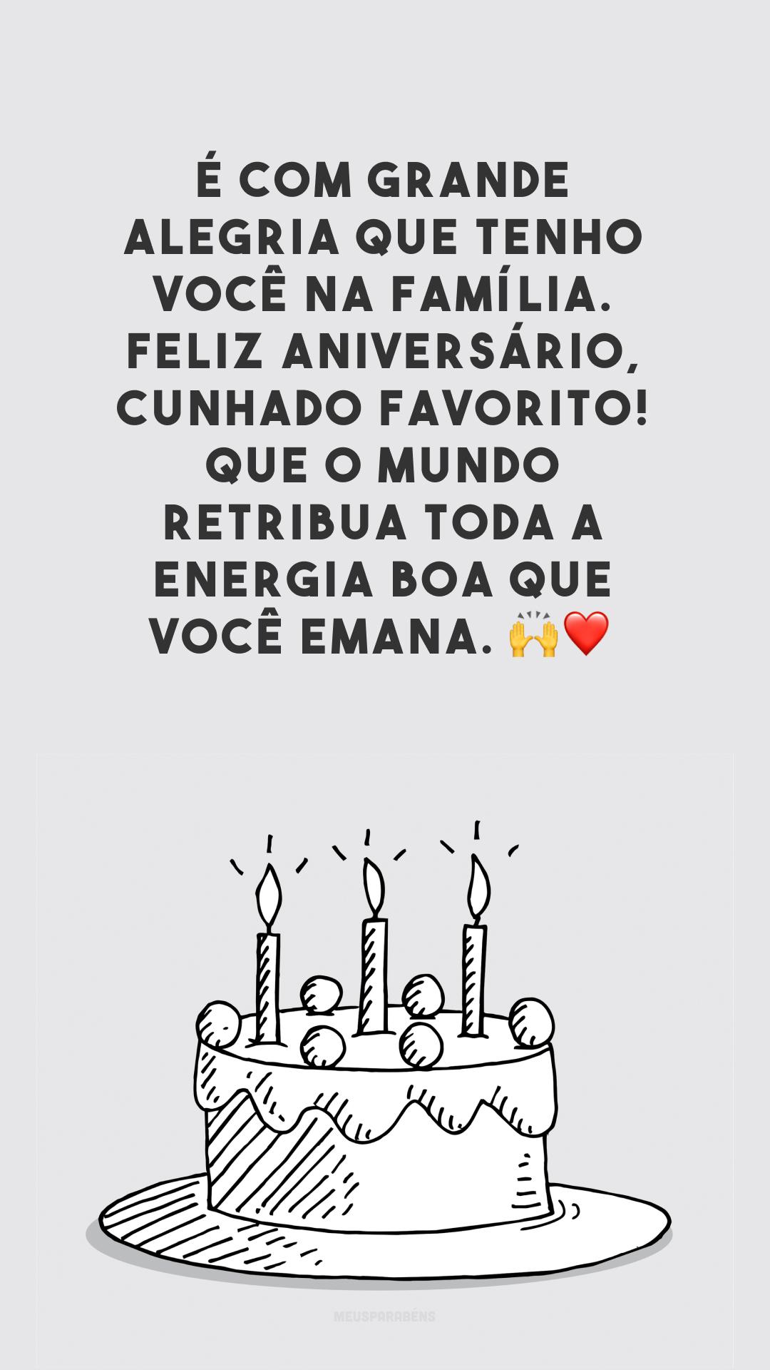 É com grande alegria que tenho você na família. Feliz aniversário, cunhado favorito! Que o mundo retribua toda a energia boa que você emana. 🙌❤️