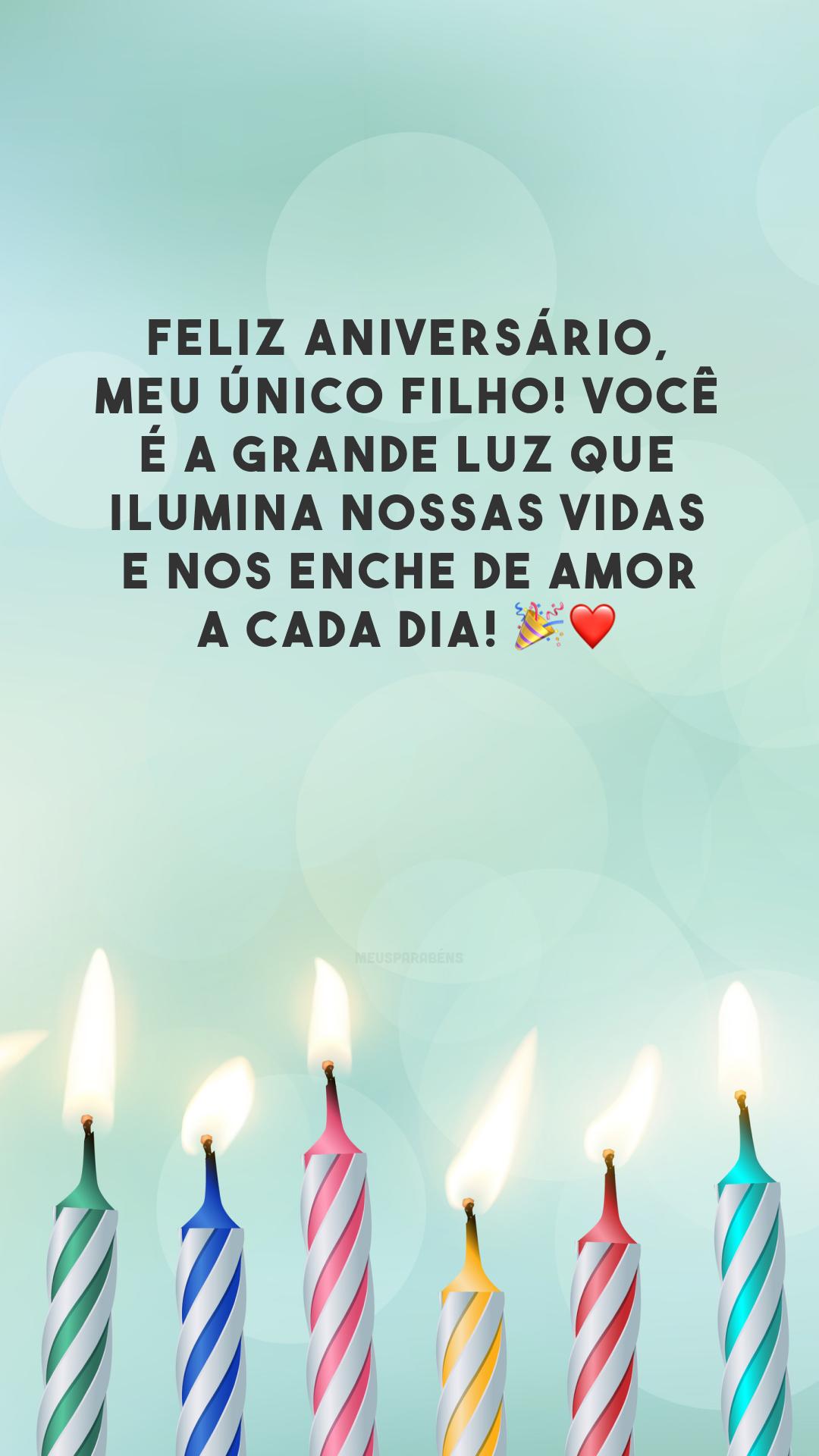 Feliz aniversário, meu único filho! Você é a grande luz que ilumina nossas vidas e nos enche de amor a cada dia! 🎉❤️