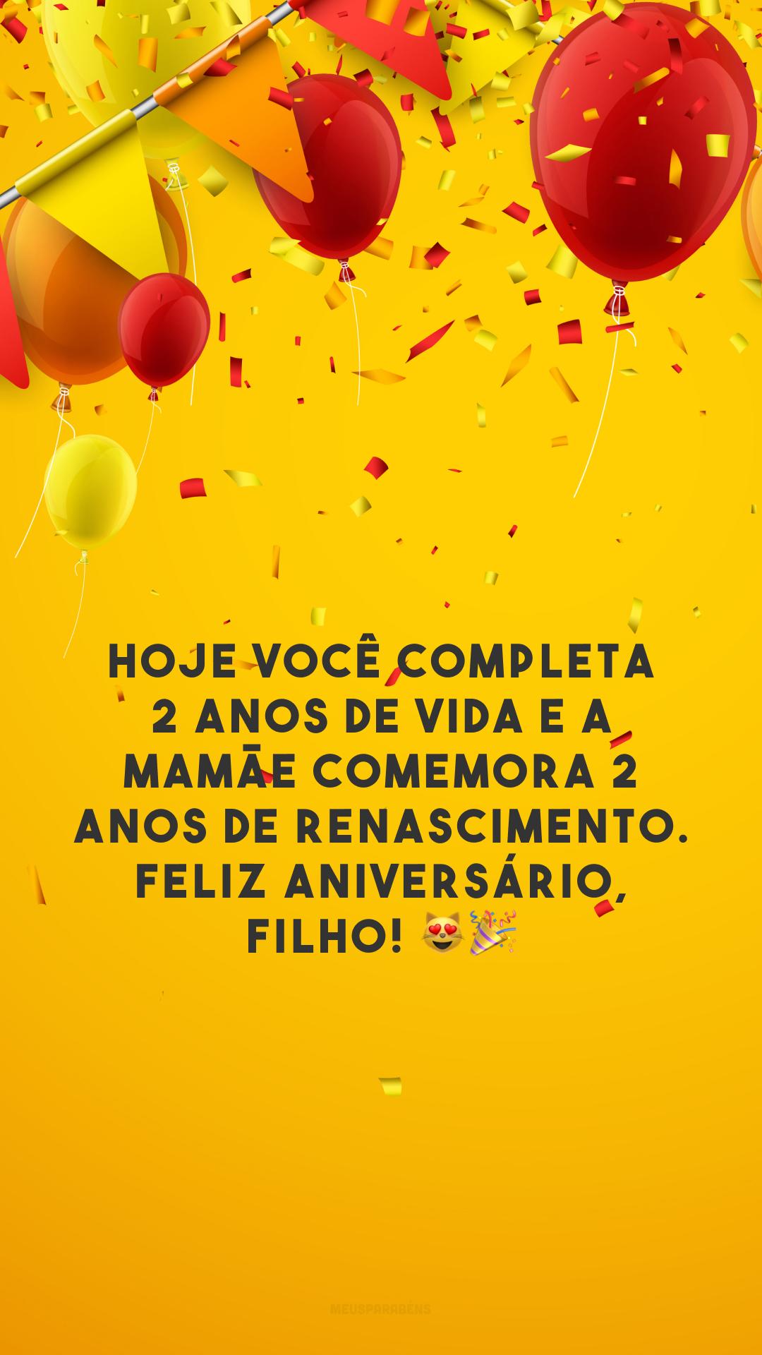 Hoje você completa 2 anos de vida e a mamãe comemora 2 anos de renascimento. Feliz aniversário, filho! 😻🎉