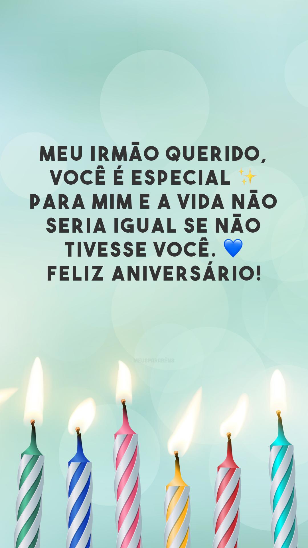 Meu irmão querido, você é especial ✨ para mim e a vida não seria igual se não tivesse você. 💙 Feliz aniversário!
