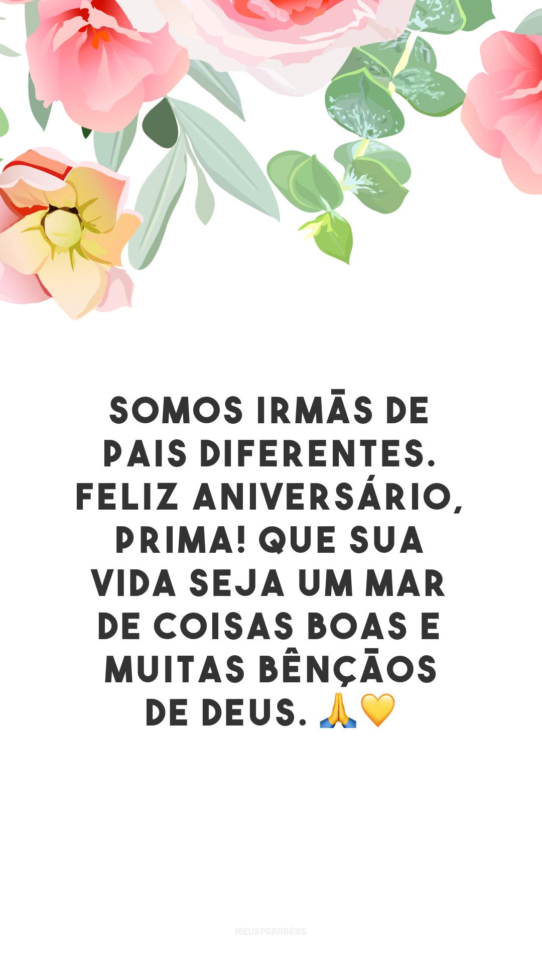 Somos irmãs de pais diferentes. Feliz aniversário, prima! Que sua vida seja um mar de coisas boas e muitas bênçãos de Deus. 🙏💛