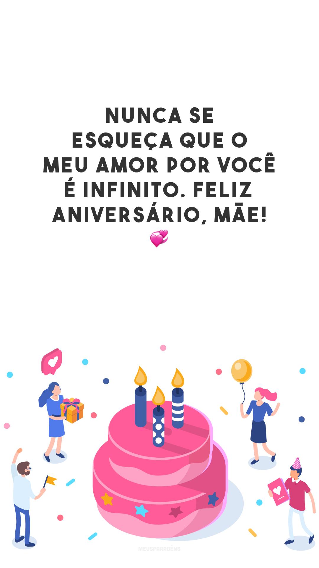 Nunca se esqueça que o meu amor por você é infinito. Feliz aniversário, mãe! 💞
