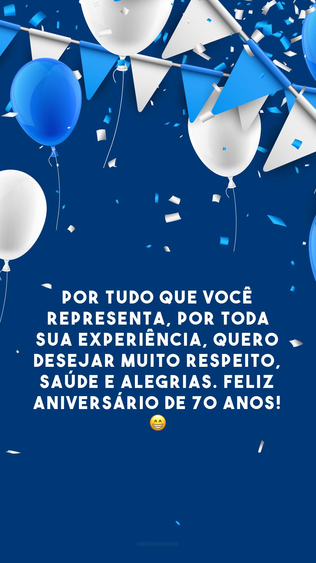Por tudo que você representa, por toda sua experiência, quero desejar muito respeito, saúde e alegrias. Feliz aniversário de 70 anos! 😁