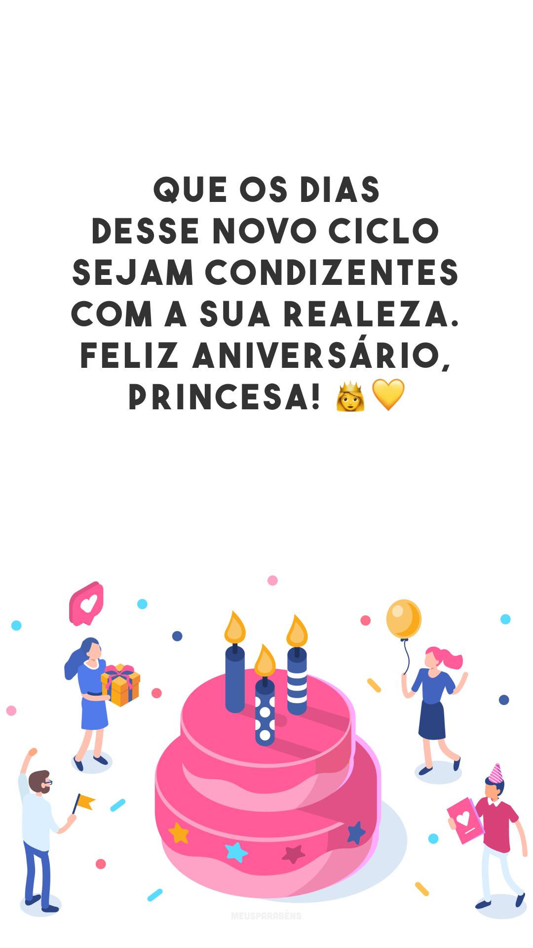 Que os dias desse novo ciclo sejam condizentes com a sua realeza. Feliz aniversário, princesa! 👸💛