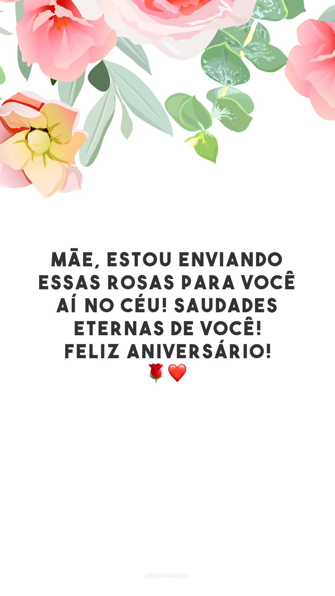 Mãe, estou enviando essas rosas para você aí no céu! Saudades eternas de você! Feliz aniversário! ❤️