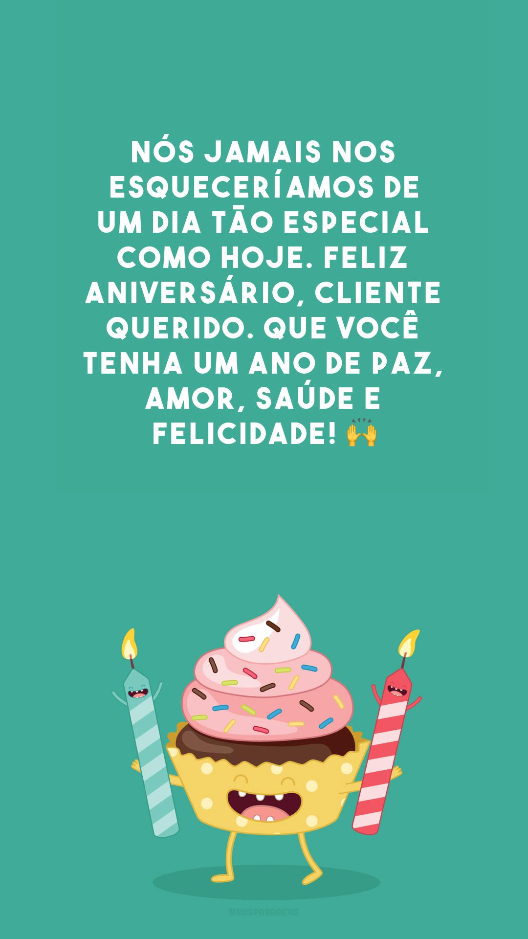 Nós jamais nos esqueceríamos de um dia tão especial como hoje. Feliz aniversário, cliente querido. Que você tenha um ano de paz, amor, saúde e felicidade! 🙌