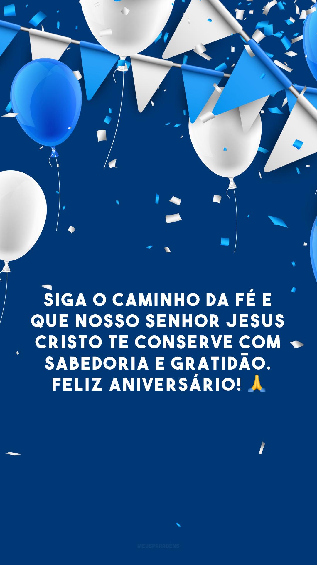 Siga o caminho da fé e que nosso Senhor Jesus Cristo te conserve com sabedoria e gratidão. Feliz aniversário! 🙏