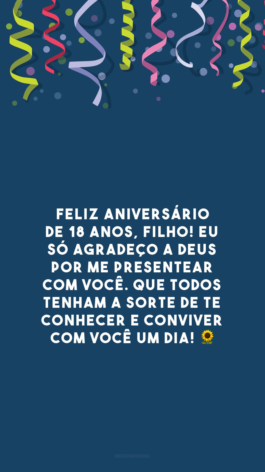 Feliz aniversário de 18 anos, filho! Eu só agradeço a Deus por me presentear com você. Que todos tenham a sorte de te conhecer e conviver com você um dia! 🌻