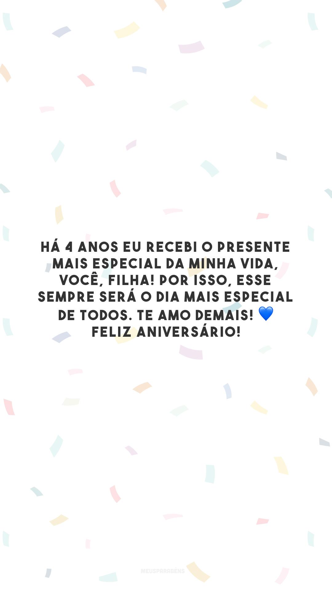 Há 4 anos eu recebi o presente mais especial da minha vida, você, filha! Por isso, esse sempre será o dia mais especial de todos. Te amo demais! 💙 Feliz aniversário!
