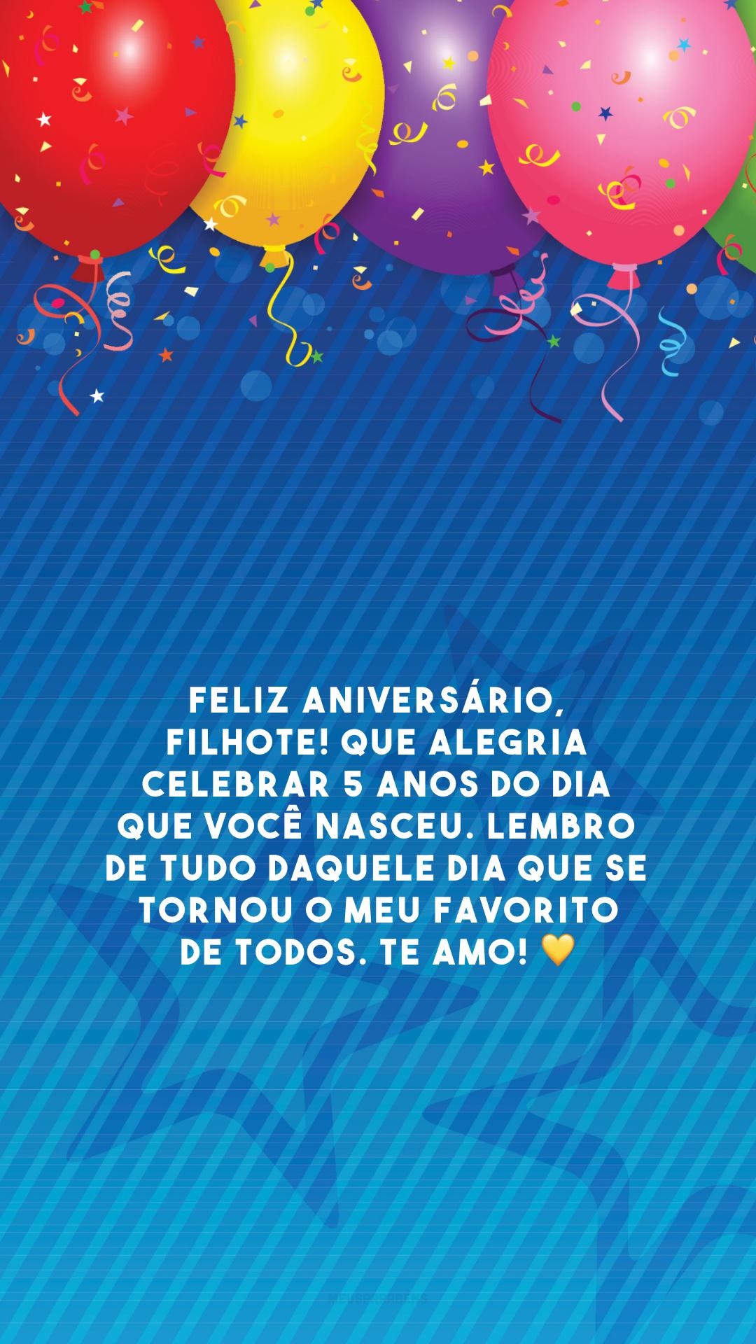 Feliz aniversário, filhote! Que alegria celebrar 5 anos do dia que você nasceu. Lembro de tudo daquele dia que se tornou o meu favorito de todos. Te amo!