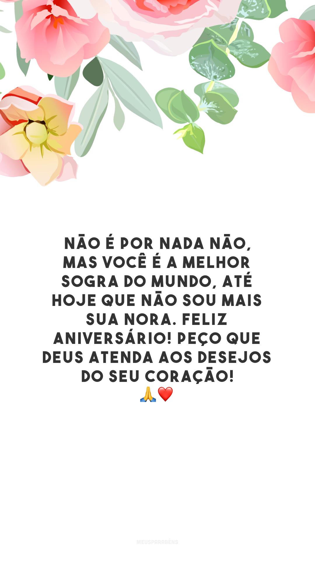 Não é por nada não, mas você é a melhor sogra do mundo, até hoje que não sou mais sua nora. Feliz aniversário! Peço que Deus atenda aos desejos do seu coração! 🙏❤️