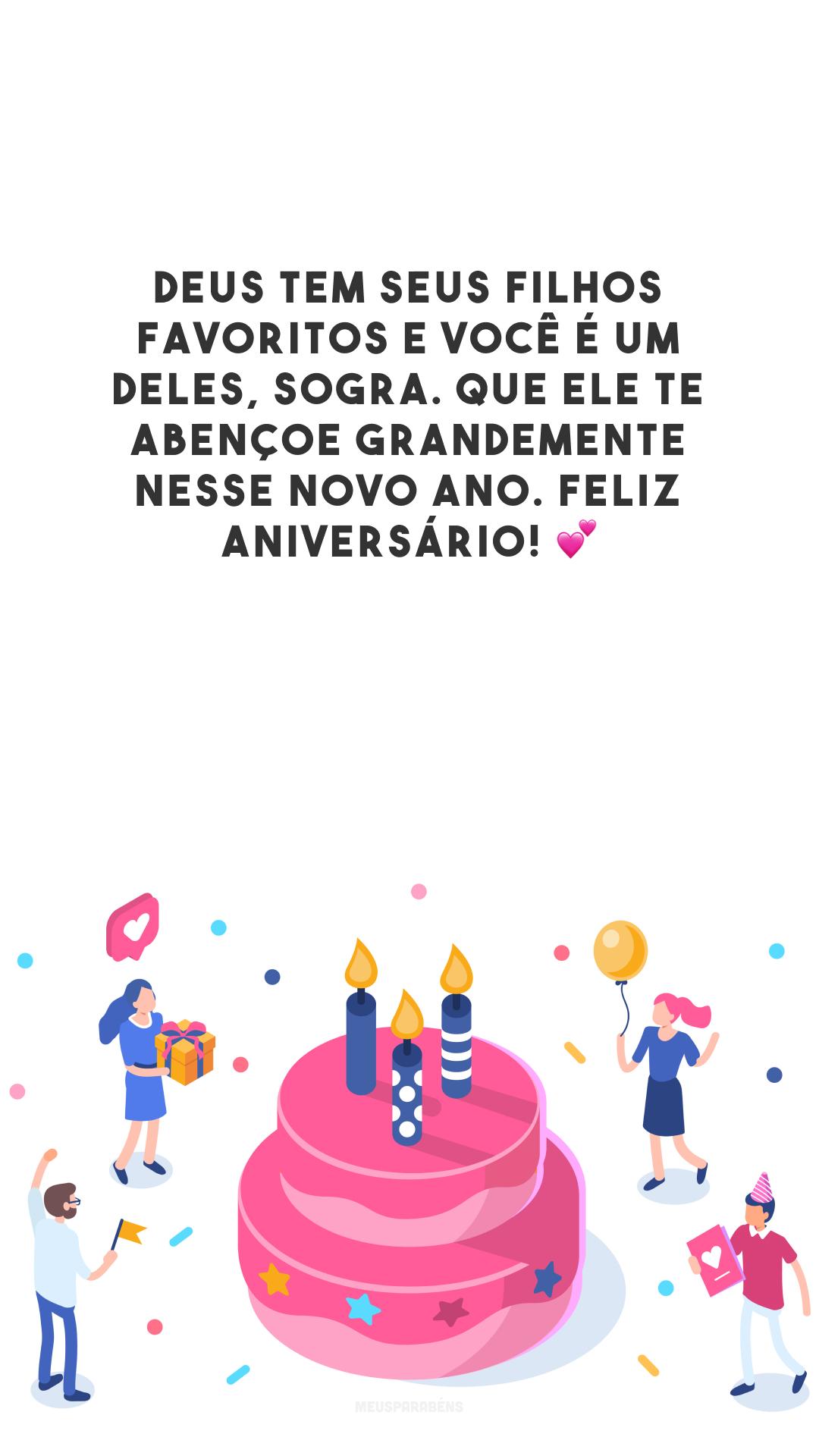 Deus tem seus filhos favoritos e você é um deles, sogra. Que Ele te abençoe grandemente nesse novo ano. Feliz aniversário! 💕