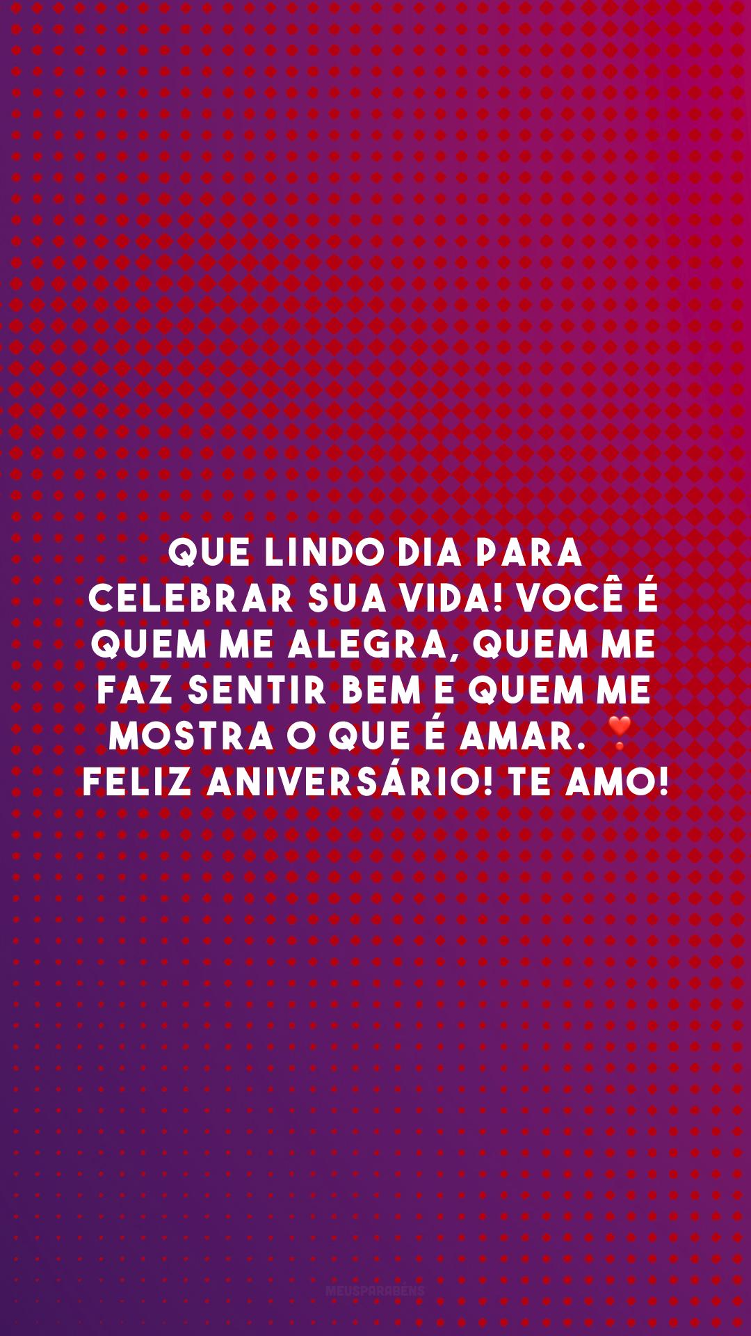 Que lindo dia para celebrar sua vida! Você é quem me alegra, quem me faz sentir bem e quem me mostra o que é amar. ❣️ Feliz aniversário! Te amo!