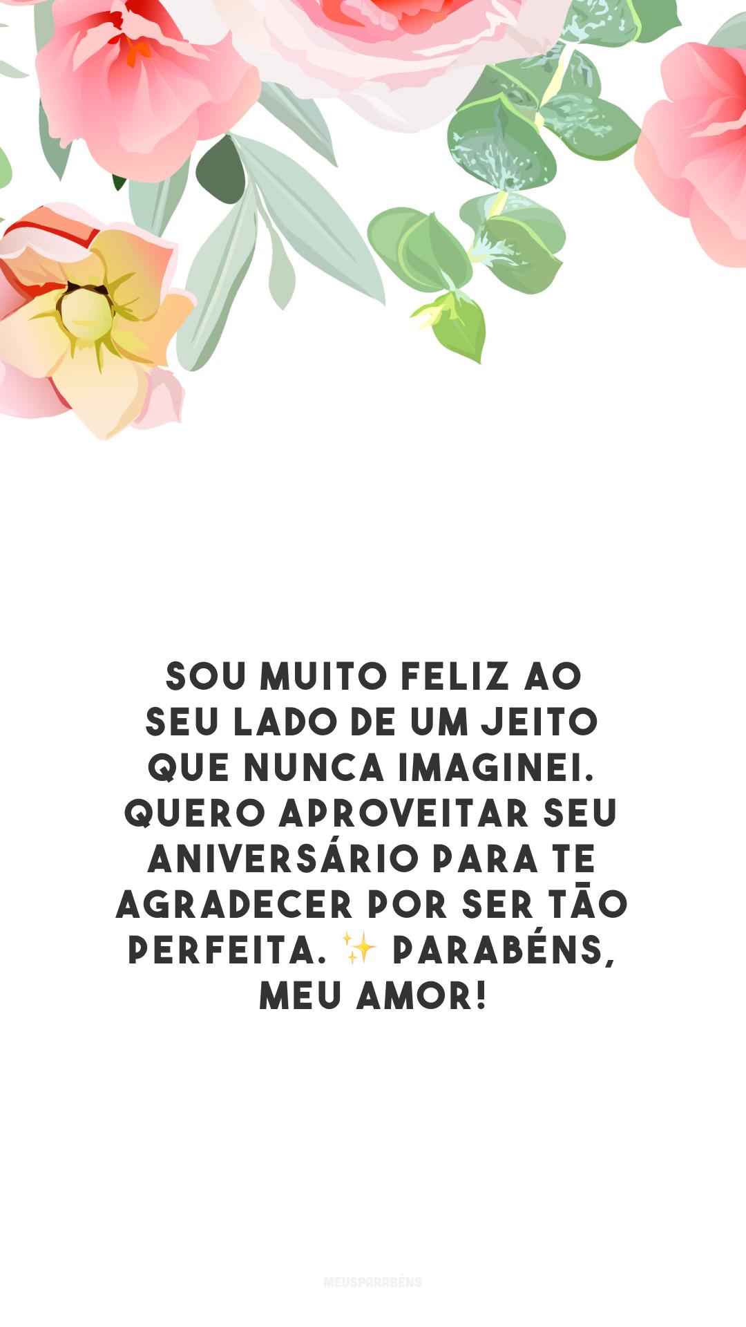 Sou muito feliz ao seu lado de um jeito que nunca imaginei. Quero aproveitar seu aniversário para te agradecer por ser tão perfeita. ✨ Parabéns, meu amor!