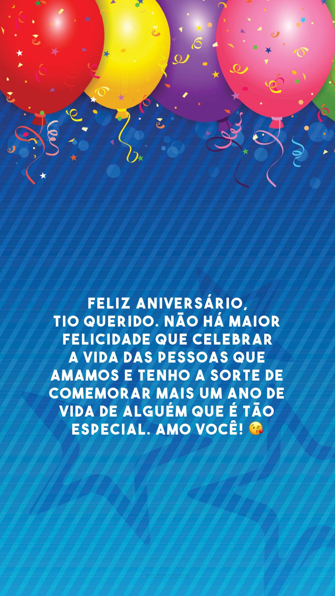 Feliz aniversário, tio querido. Não há maior felicidade que celebrar a vida das pessoas que amamos e tenho a sorte de comemorar mais um ano de vida de alguém que é tão especial. Amo você! 😘