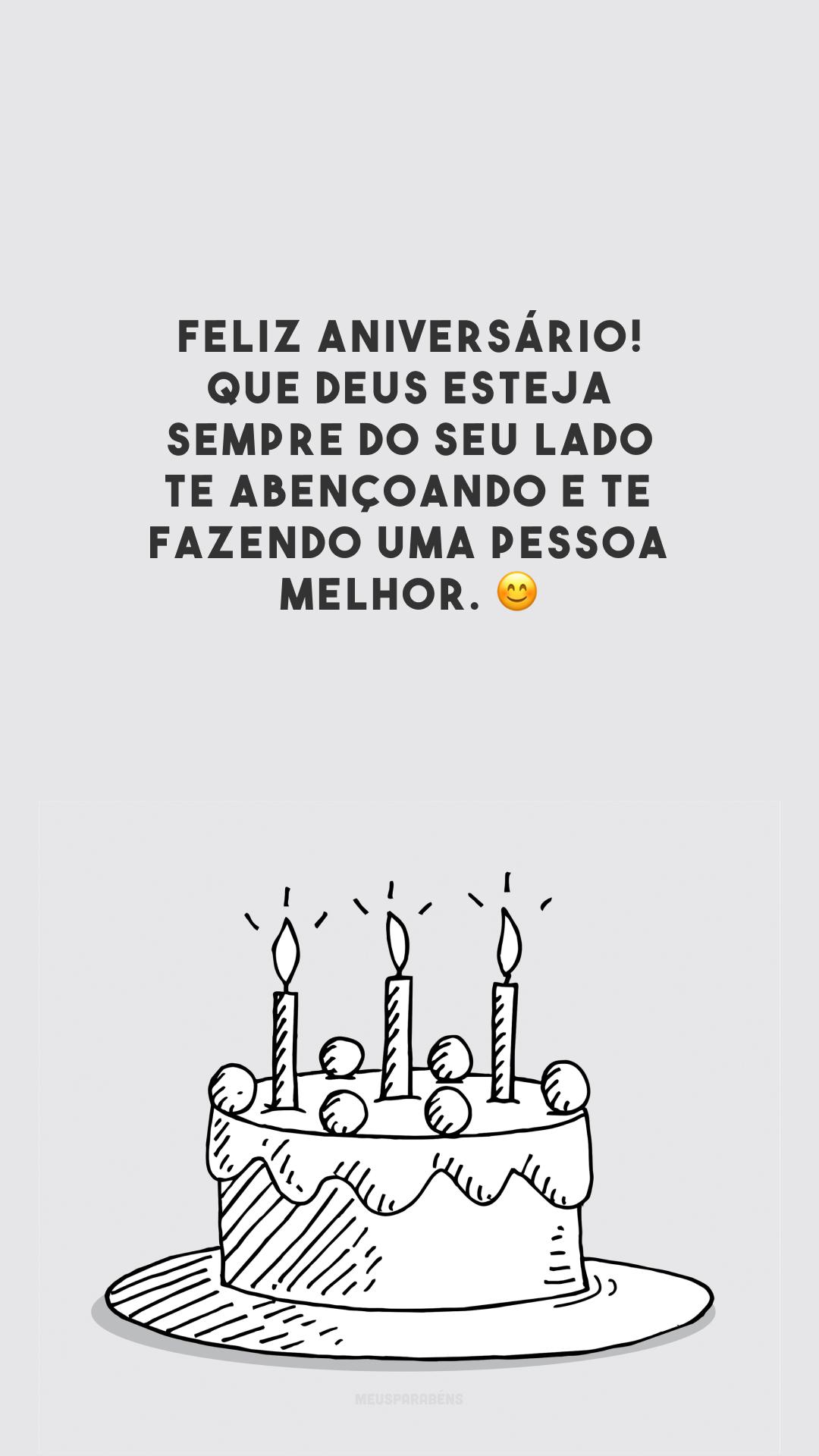 Feliz aniversário! Que Deus esteja sempre do seu lado te abençoando e te fazendo uma pessoa melhor. 😊