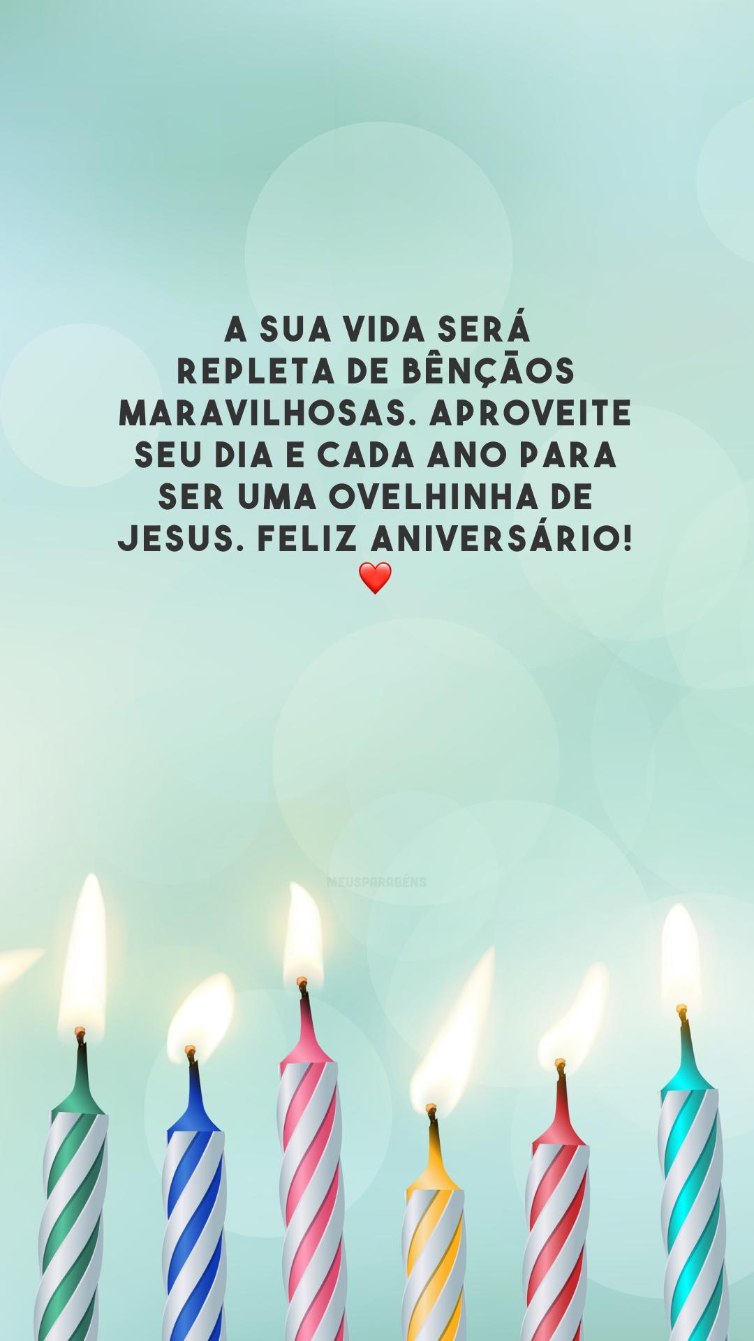 A sua vida será repleta de bênçãos maravilhosas. Aproveite seu dia e cada ano para ser uma ovelhinha de Jesus. Feliz aniversário! ❤️