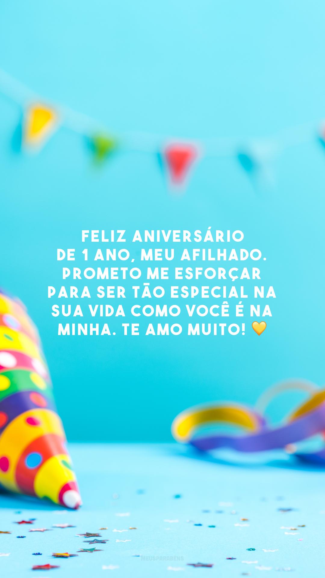 Feliz aniversário de 1 ano, meu afilhado. Prometo me esforçar para ser tão especial na sua vida como você é na minha. Te amo muito! 💛