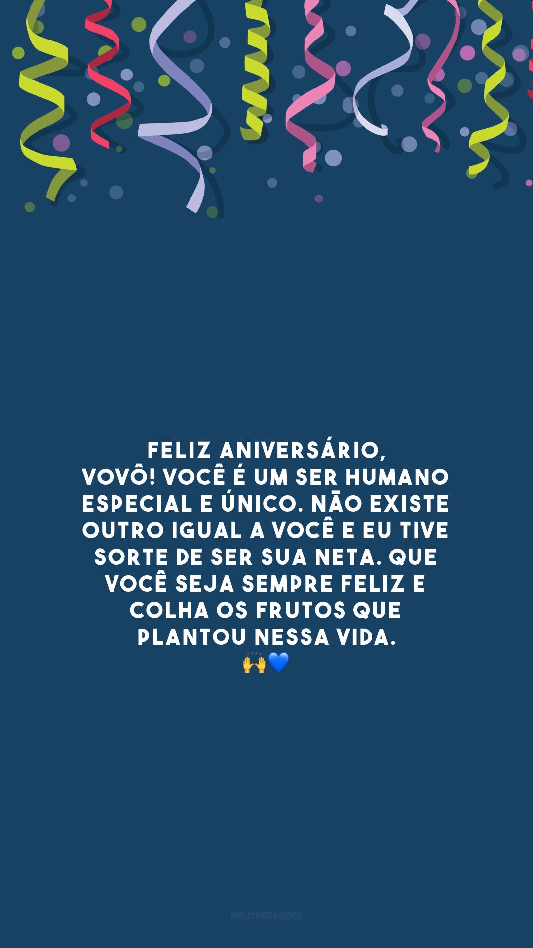 Feliz aniversário, vovô! Você é um ser humano especial e único. Não existe outro igual a você e eu tive sorte de ser sua neta. Que você seja sempre feliz e colha os frutos que plantou nessa vida. 🙌💙