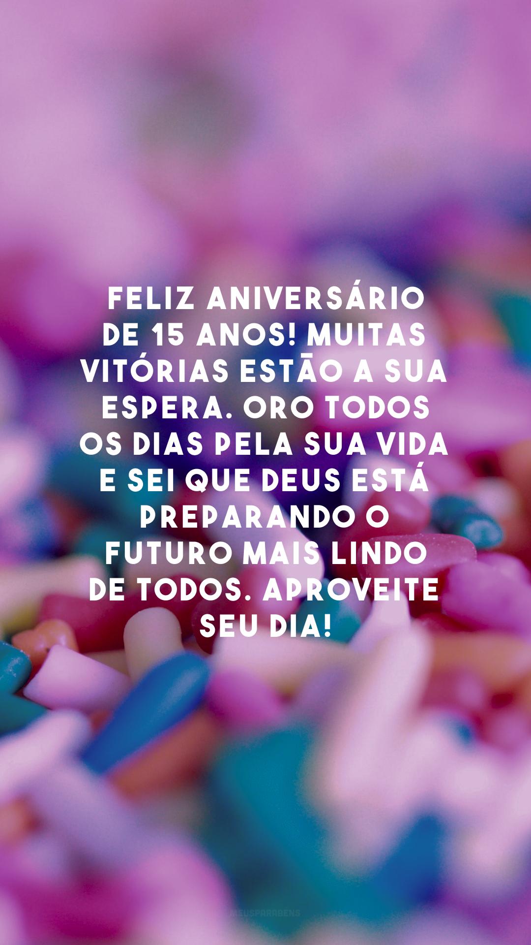 Feliz aniversário de 15 anos! Muitas vitórias estão a sua espera. Oro todos os dias pela sua vida e sei que Deus está preparando o futuro mais lindo de todos. Aproveite seu dia!
