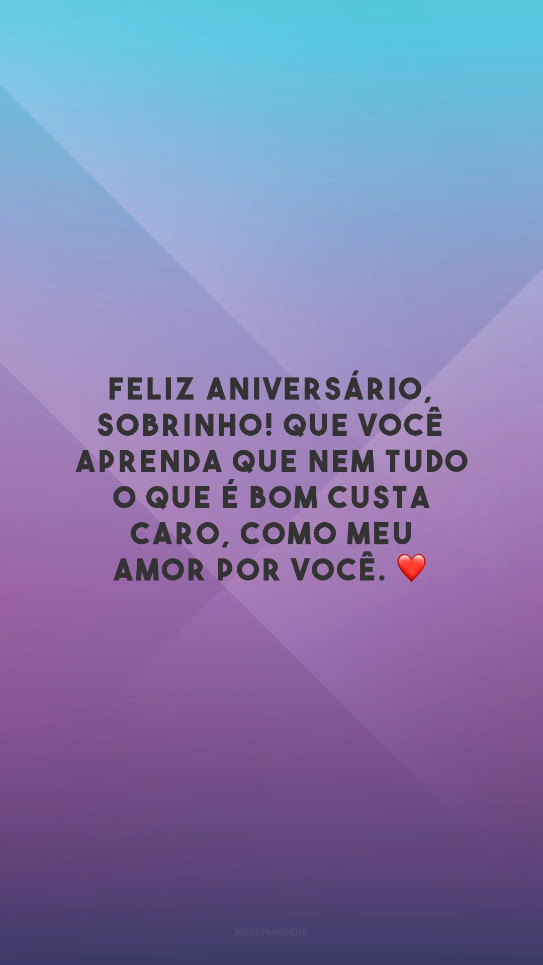 Feliz aniversário, sobrinho! Que você aprenda que nem tudo o que é bom custa caro, como meu amor por você. ❤️