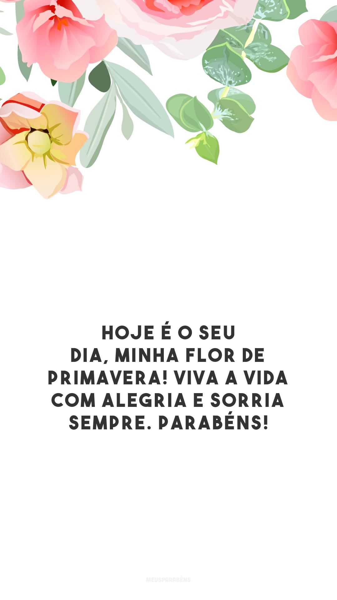 Hoje é o seu dia, minha flor de primavera! Viva a vida com alegria e sorria sempre. Parabéns!