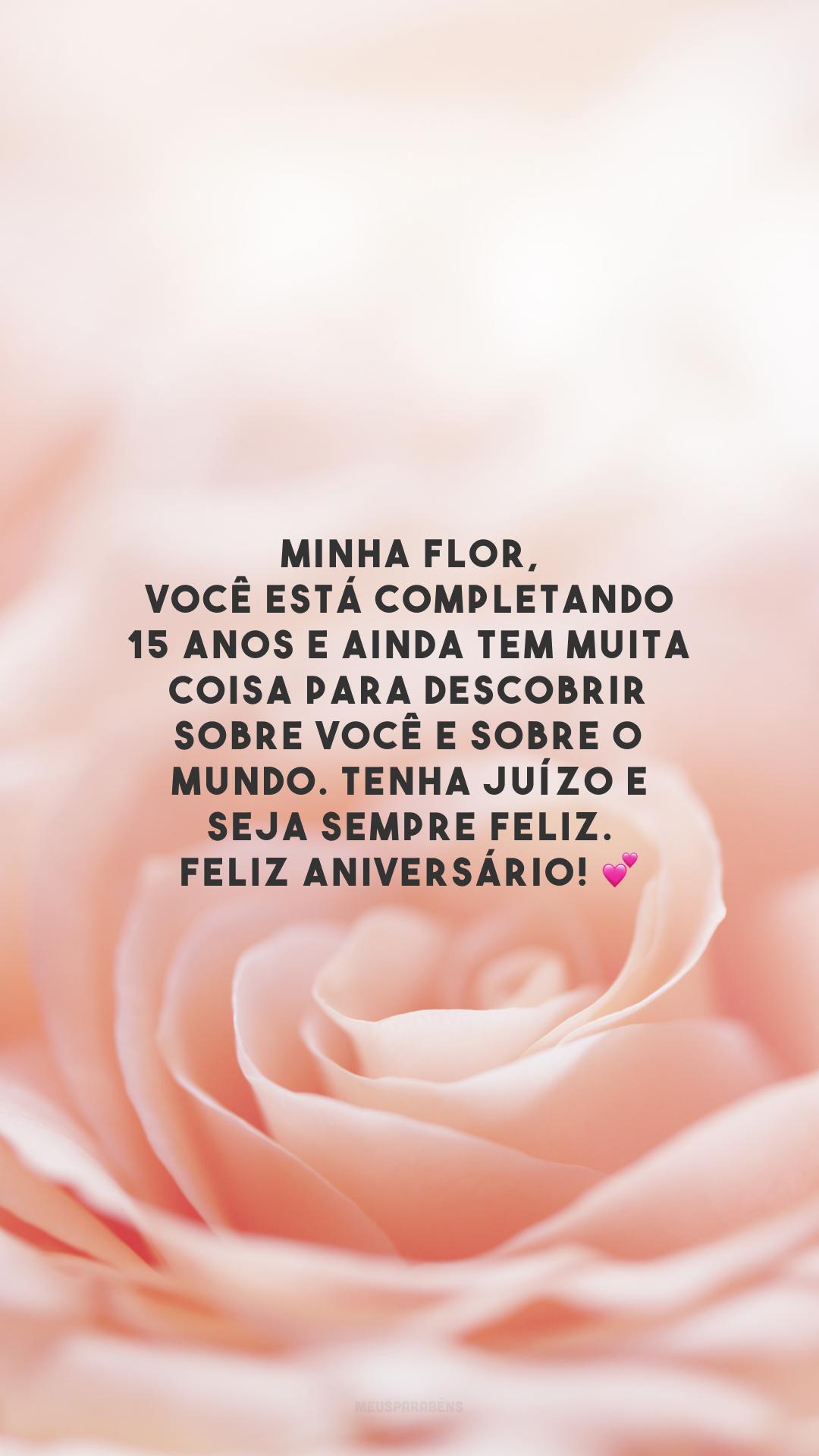 Minha flor, você está completando 15 anos e ainda tem muita coisa para descobrir sobre você e sobre o mundo. Tenha juízo e seja sempre feliz. Feliz aniversário! 💕