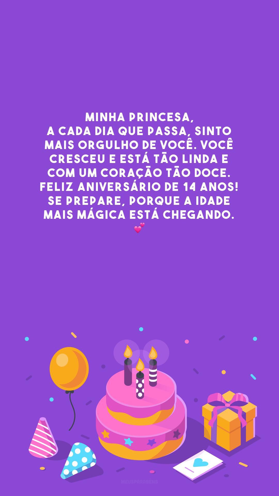 Minha princesa, a cada dia que passa, sinto mais orgulho de você. Você cresceu e está tão linda e com um coração tão doce. Feliz aniversário de 14 anos! Se prepare, porque a idade mais mágica está chegando. 💕