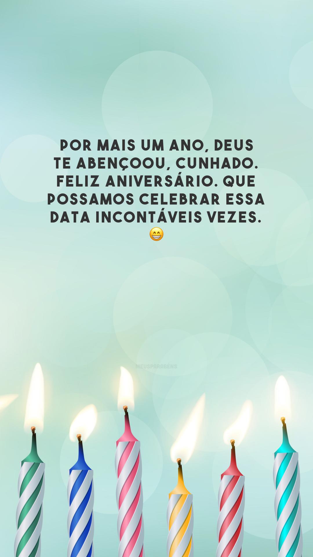 Por mais um ano, Deus te abençoou, cunhado. Feliz aniversário. Que possamos celebrar essa data incontáveis vezes. 😁