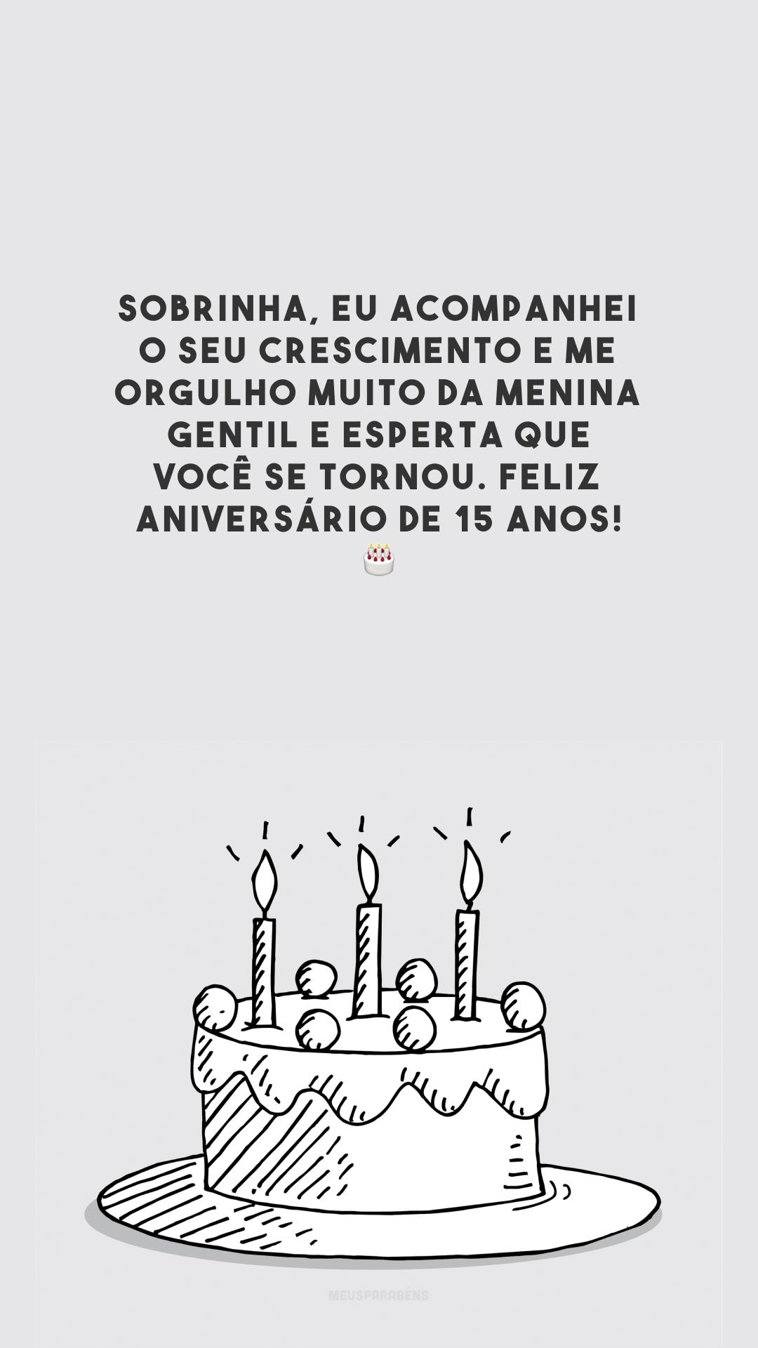 Sobrinha, eu acompanhei o seu crescimento e me orgulho muito da menina gentil e esperta que você se tornou. Feliz aniversário de 15 anos! 🎂
