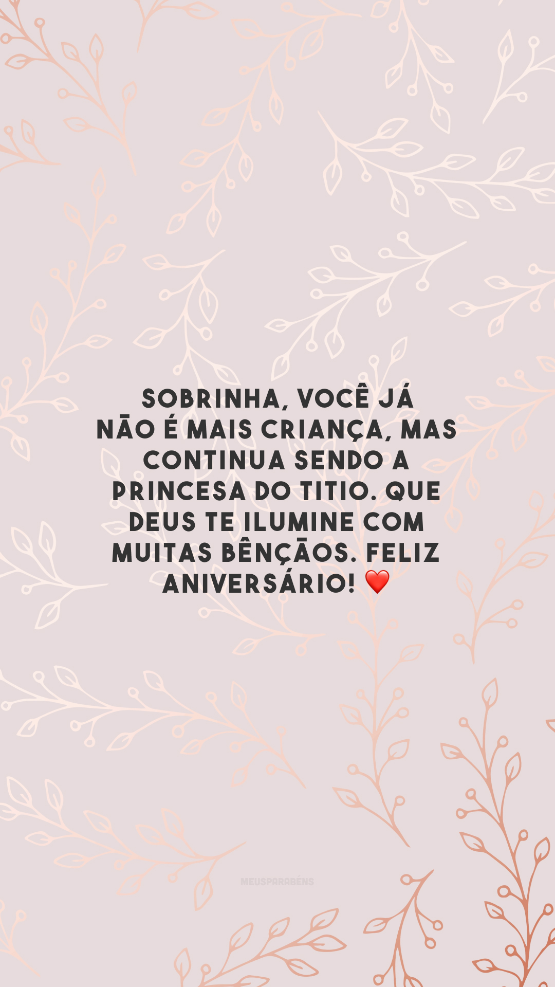 Sobrinha, você já não é mais criança, mas continua sendo a princesa do titio. Que Deus te ilumine com muitas bênçãos. Feliz aniversário! ❤️