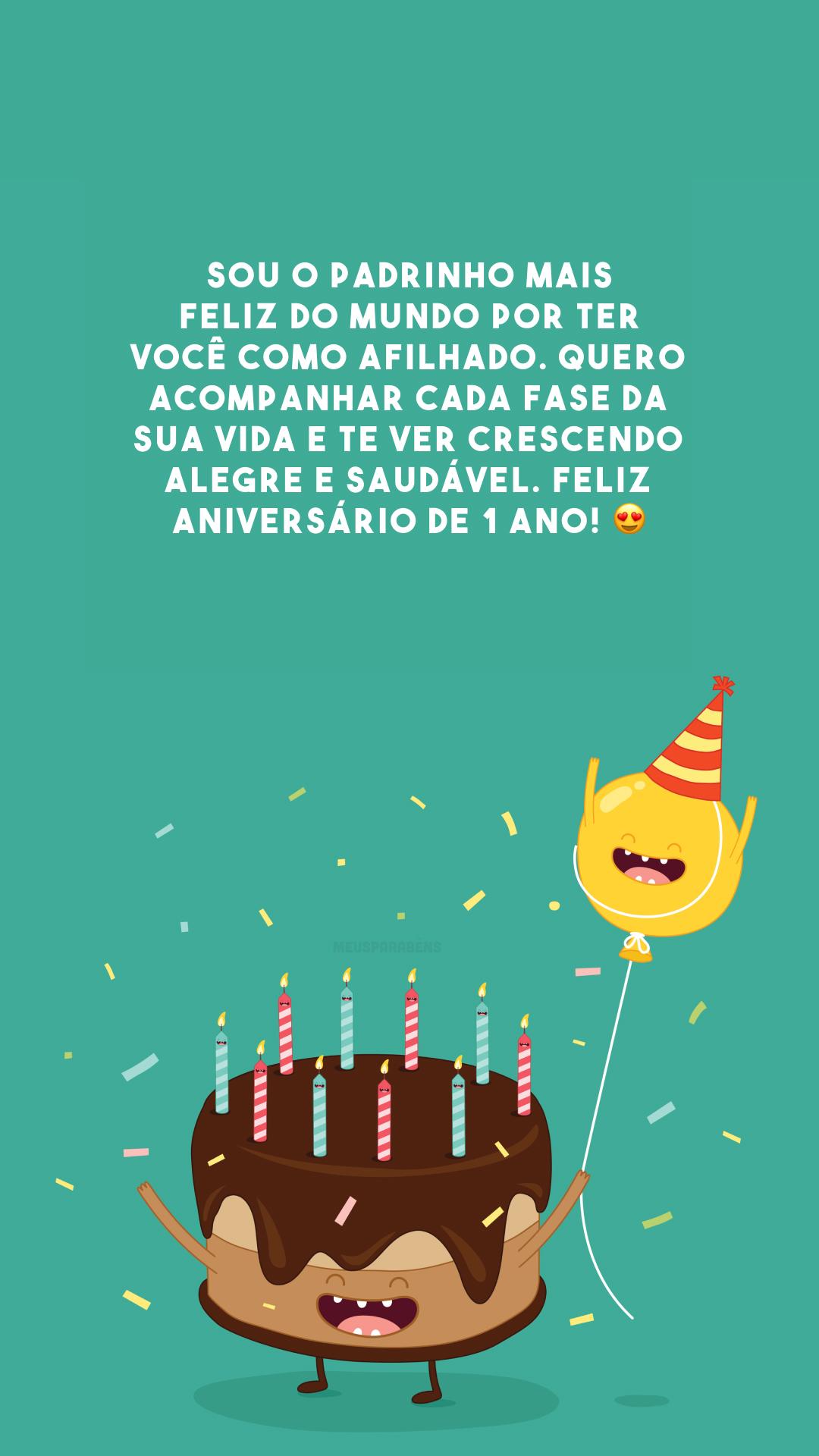 Sou o padrinho mais feliz do mundo por ter você como afilhado. Quero acompanhar cada fase da sua vida e te ver crescendo alegre e saudável. Feliz aniversário de 1 ano! 😍