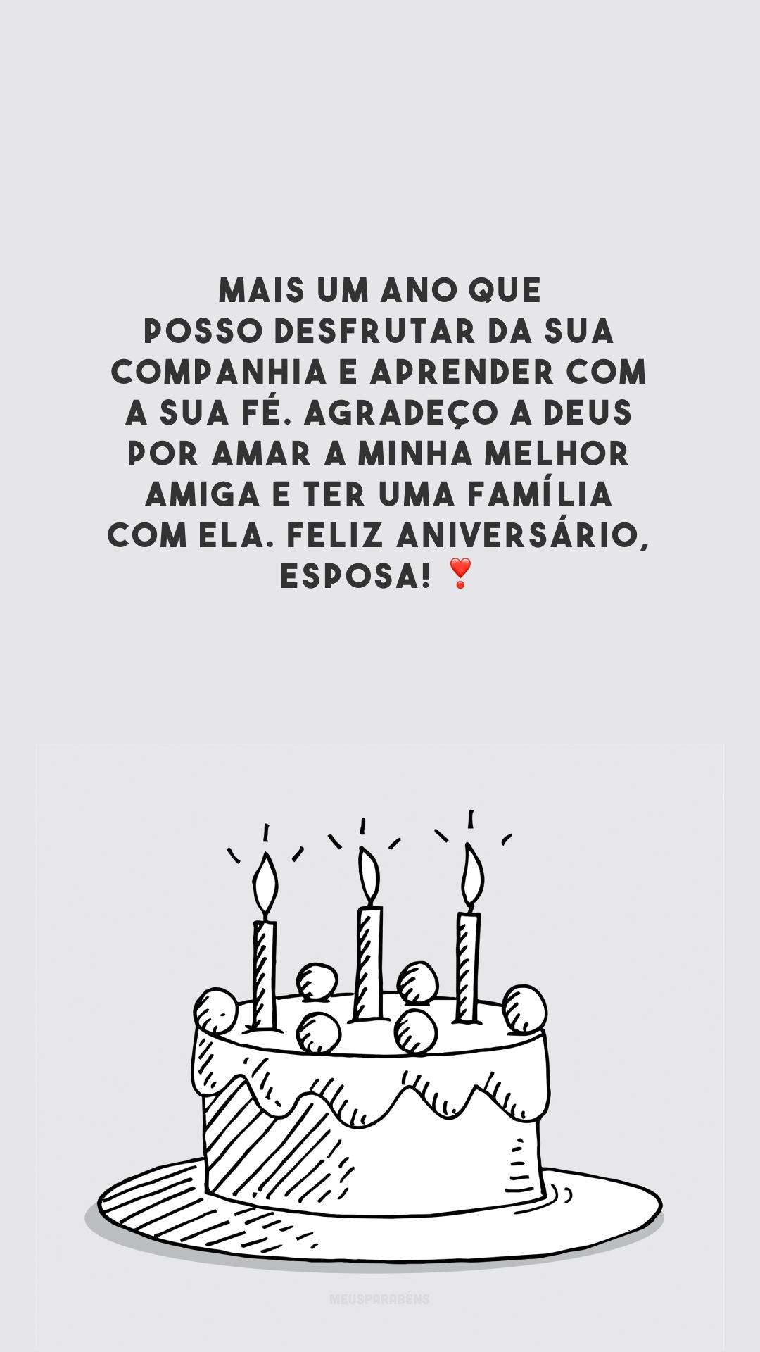 Mais um ano que posso desfrutar da sua companhia e aprender com a sua fé. Agradeço a Deus por amar a minha melhor amiga e ter uma família com ela. Feliz aniversário, esposa! ❣️