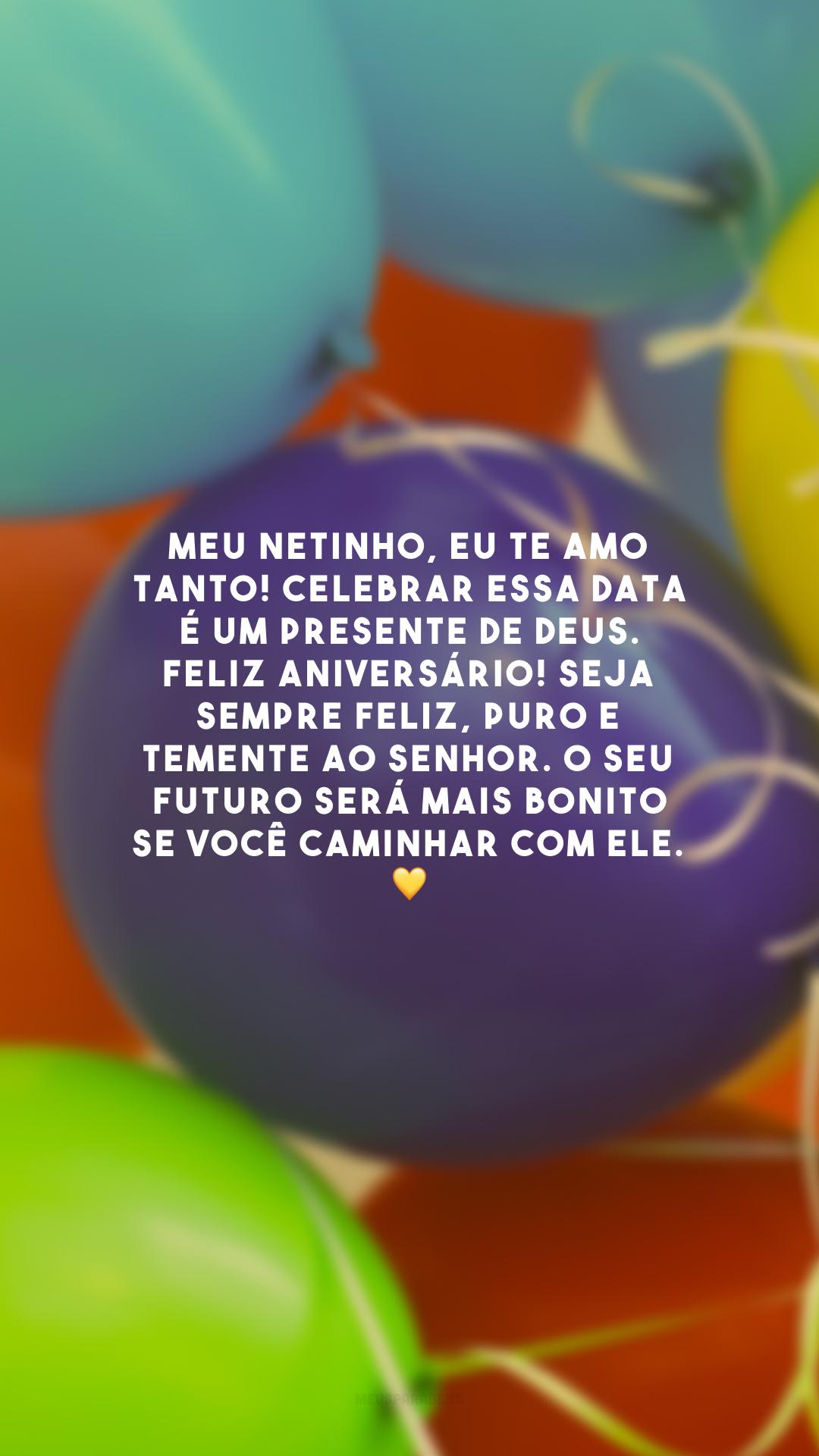Meu netinho, eu te amo tanto! Celebrar essa data é um presente de Deus. Feliz aniversário! Seja sempre feliz, puro e temente ao Senhor. O seu futuro será mais bonito se você caminhar com Ele. 💛